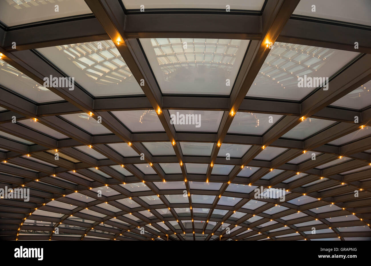 Full Frame Shot Of Illuminated Recessed Lights On Skylight - Stock Image