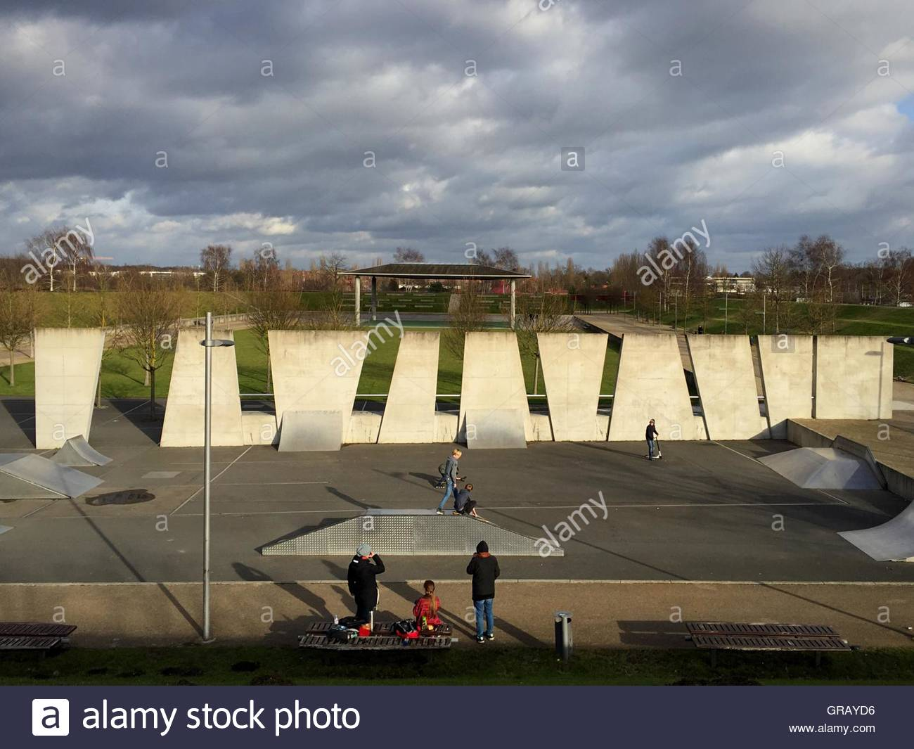 High Angle View Of People At Volkspark Potsdam Against Cloudy Sky - Stock Image