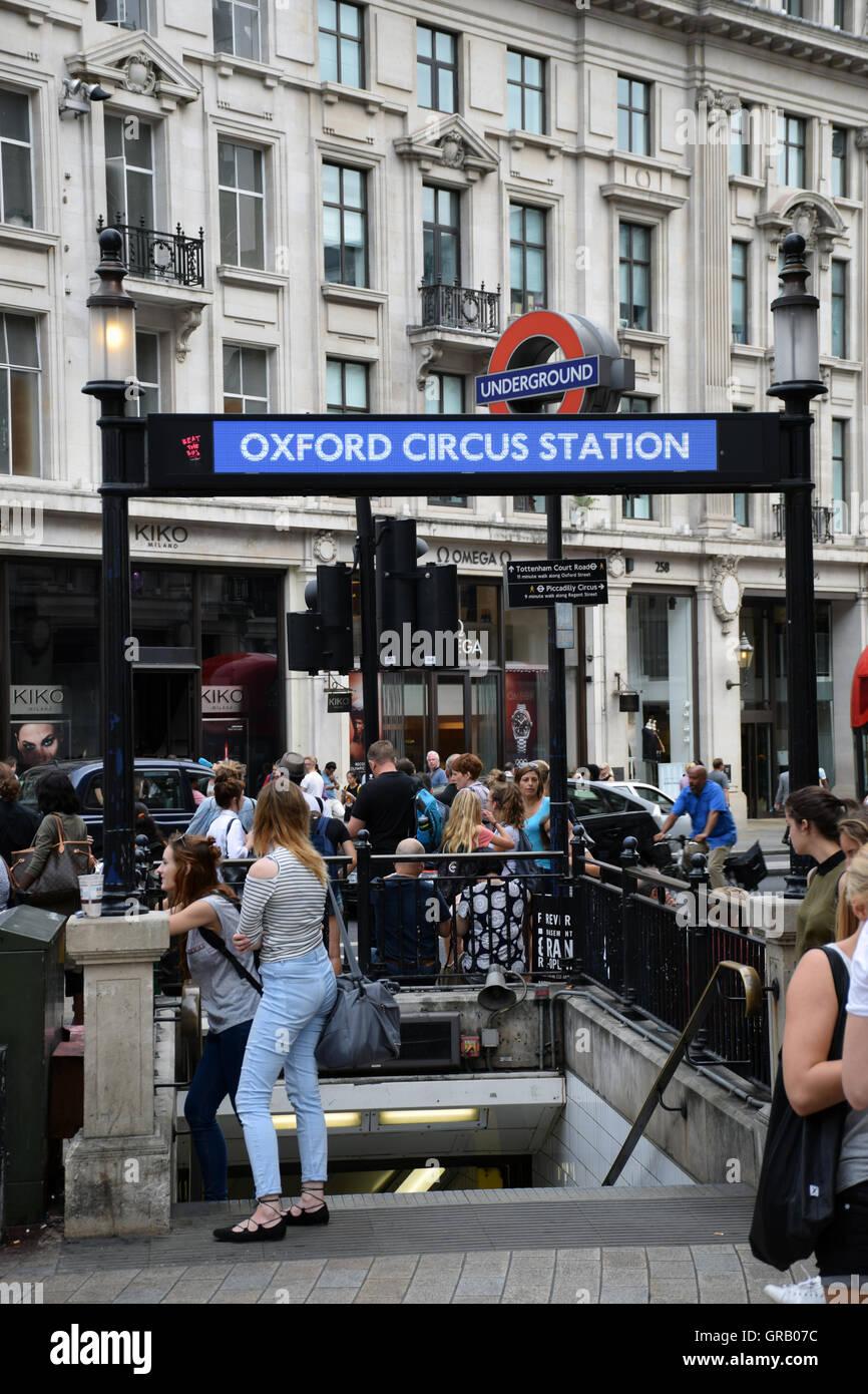 Oxford Circus underground station, London UK - Stock Image