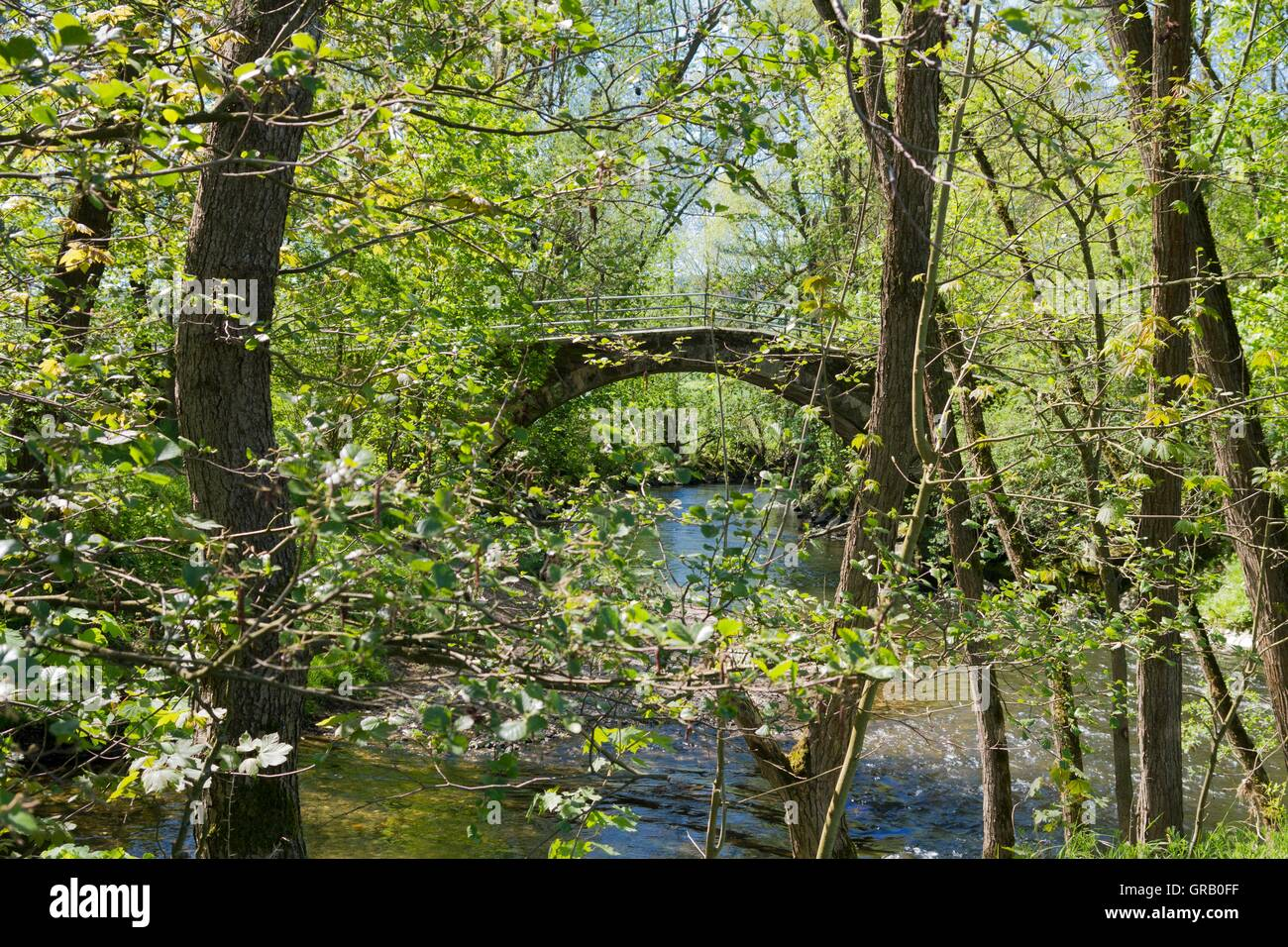 Restored Historical Arch Bridge From The 17Th Century At The Beginning Of The Baille-Maille Lime Avenue - Stock Image
