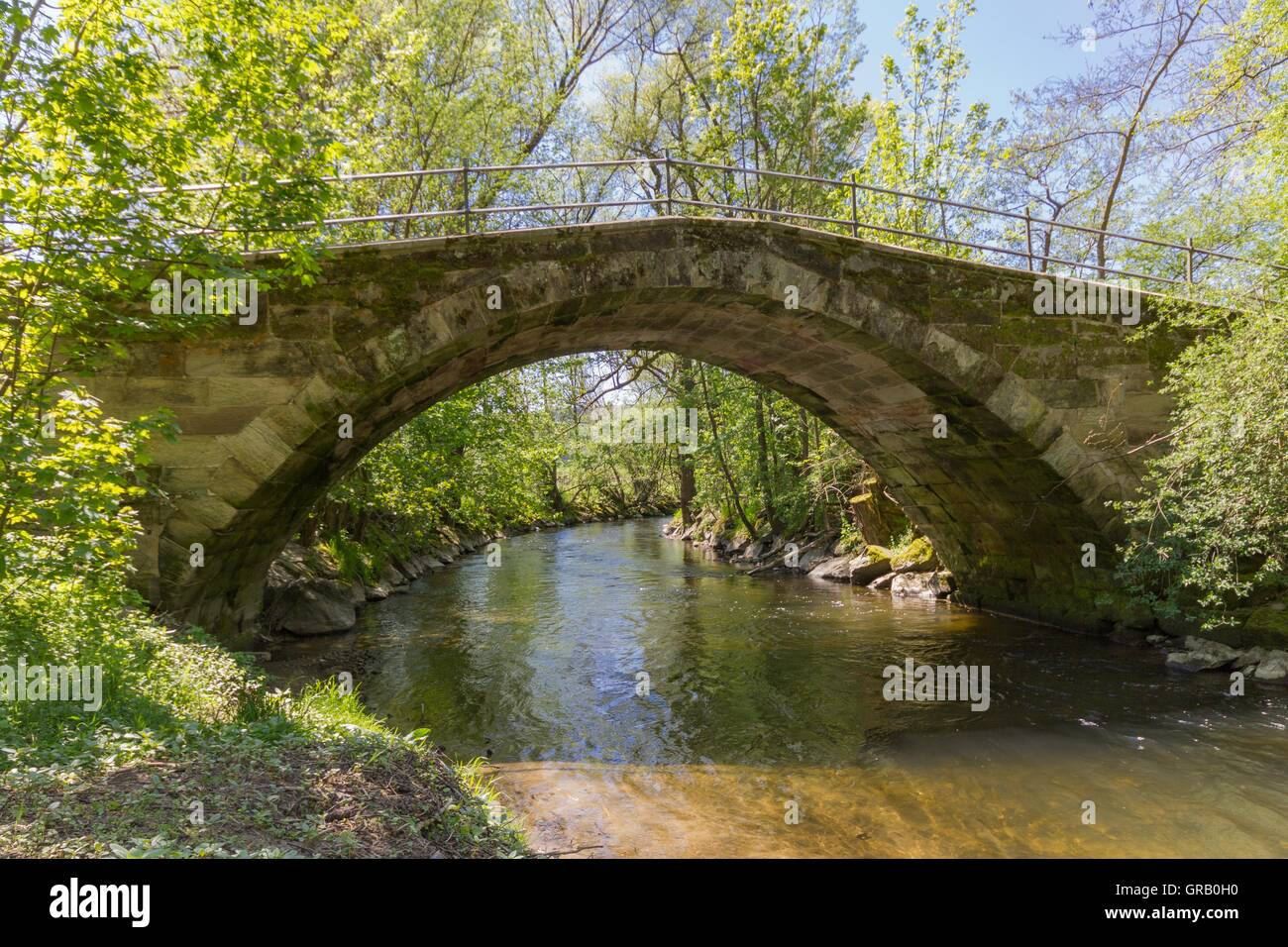 Restored, Historic Arch Bridge From The 17Th Century At The Beginning Of The Baille-Maille Lime Avenue, View From - Stock Image