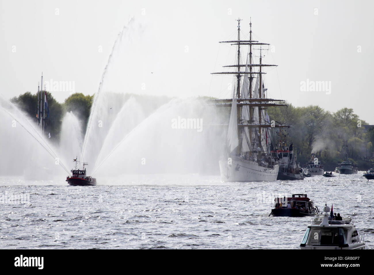 Hamburg Harbours Birthday, The Gorch Fock At The Ships Parade - Stock Image