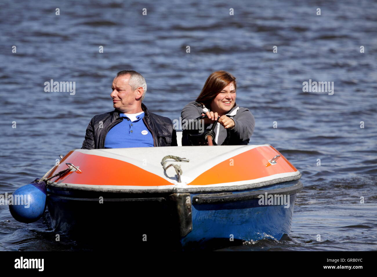 Katharina Fegebank And Harry Schulz In A Pedalo On River Alster - Stock Image