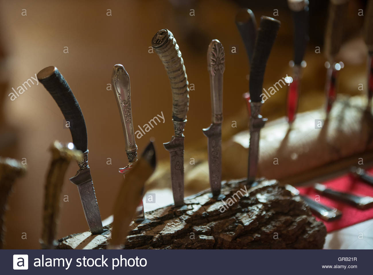 Traditional Knifes With Horn Handle - Stock Image