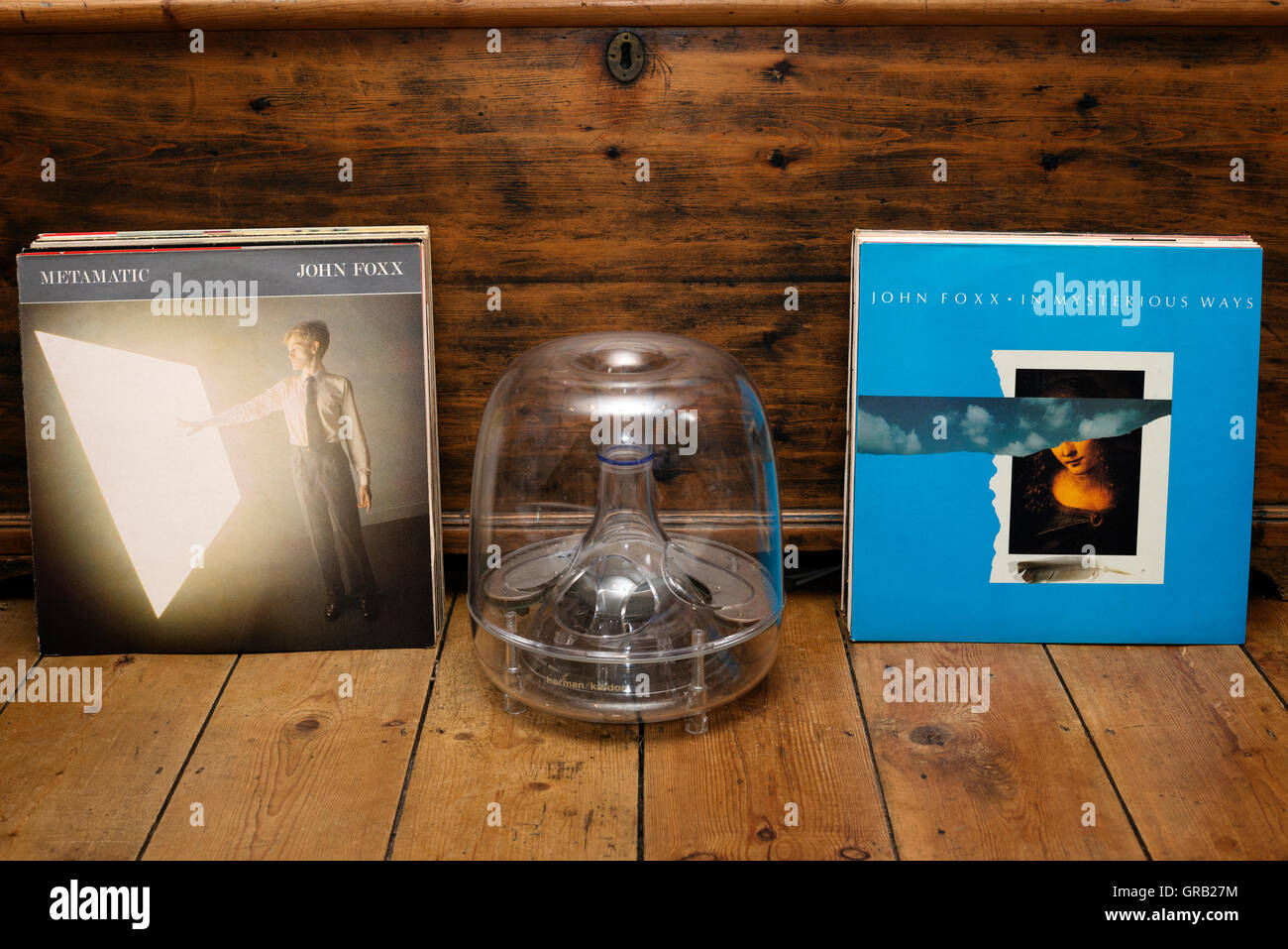 John Foxx Metamatic LP and In Mysterious Ways 12' single records - Stock Image