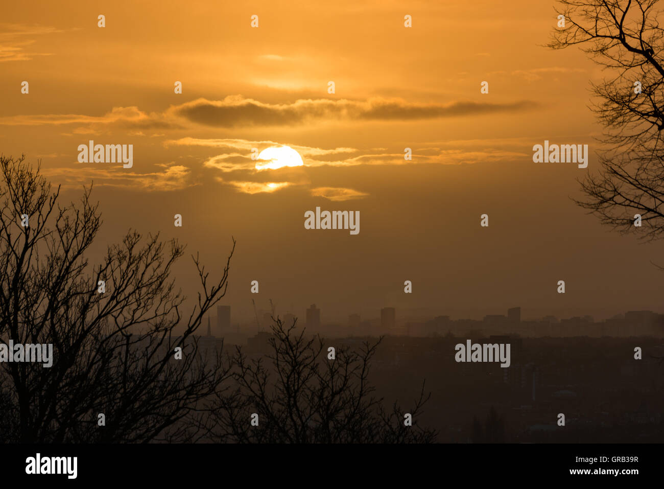 Sunrise over London from Alexandra Palace, UK - Stock Image