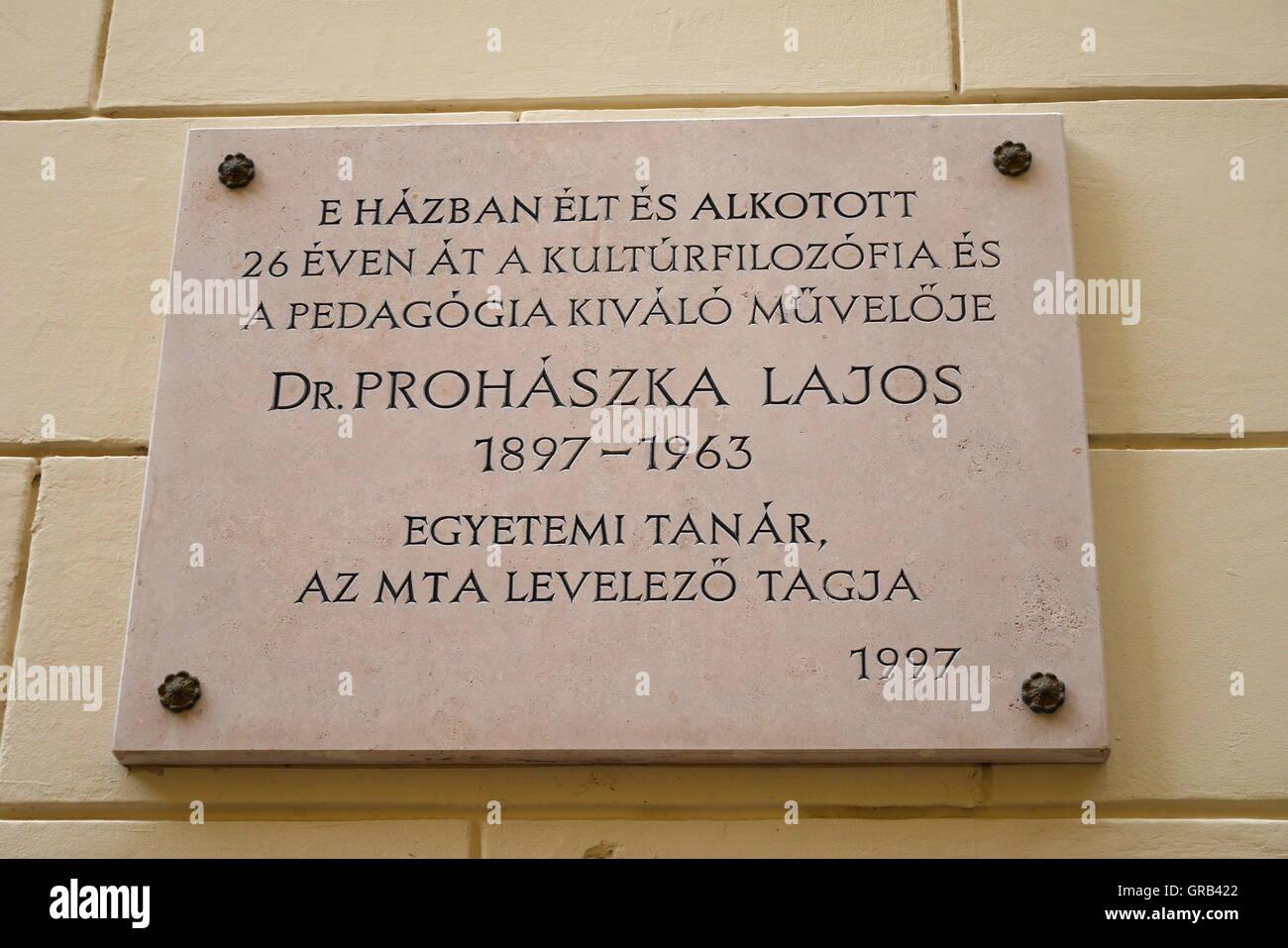 Commemorative plaque to university  professor Dr Lajos Prohaszka, Castle District, Budapest, Hungary - Stock Image