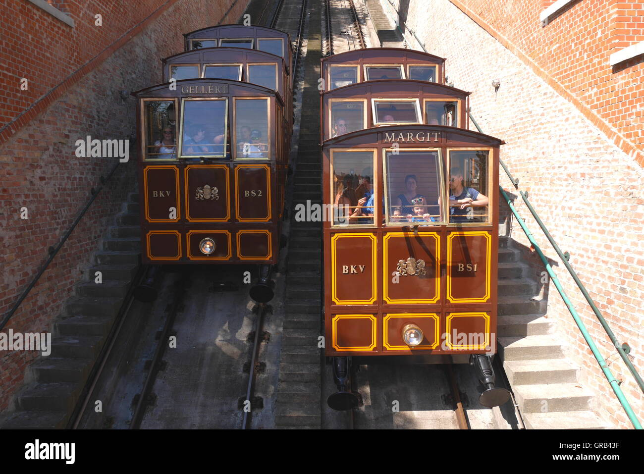 The Siklo funicular in Budapest that runs from the top of Castle Hill to the Lanchid (Chain Bridge) Stock Photo