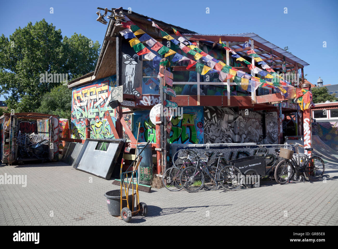 Wonderland Alis skatepark in freetown Christiania, Copenhagen, Denmark. - Stock Image