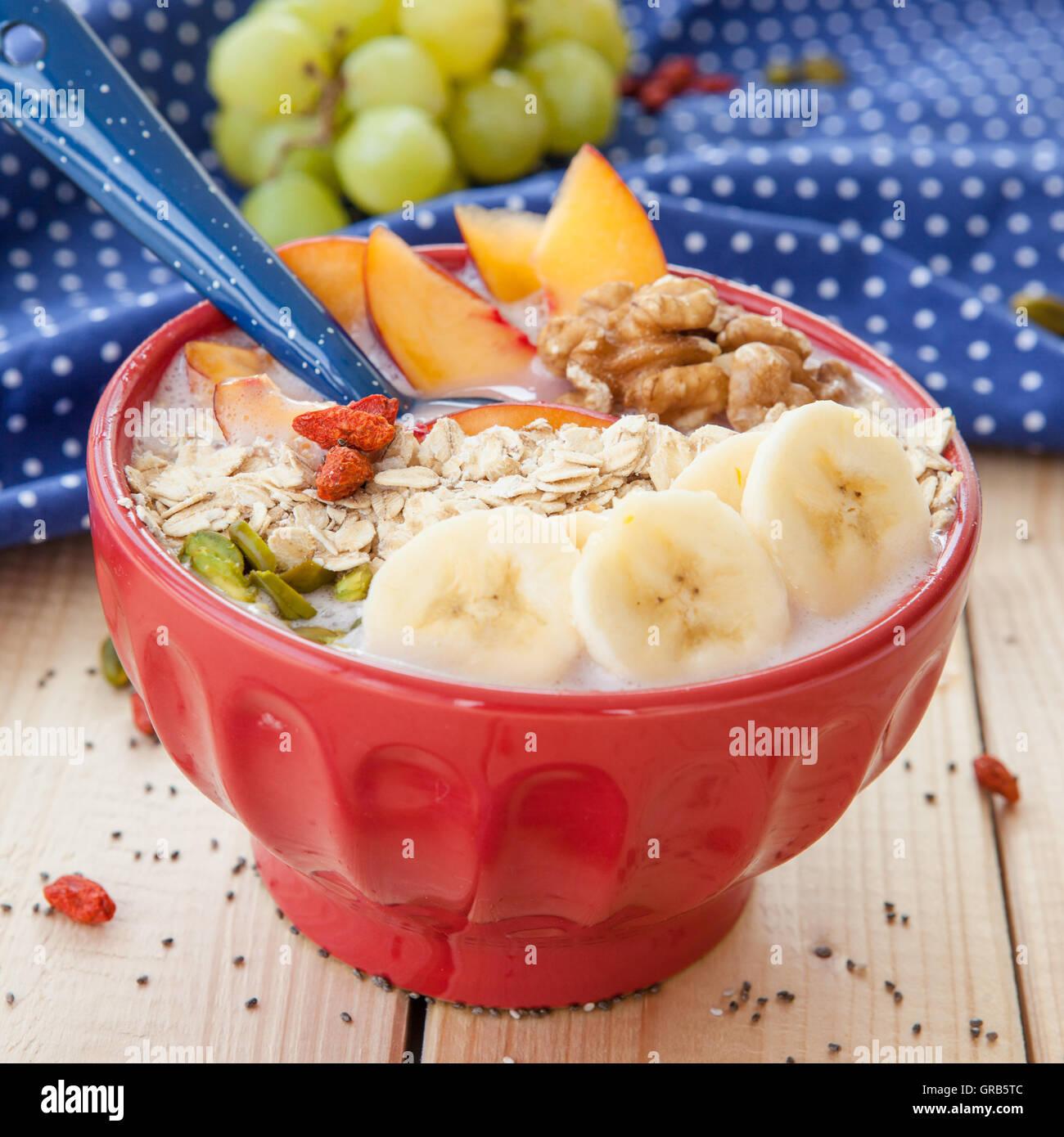 Smoothie Bowl With Fresh Fruits Stock Photo