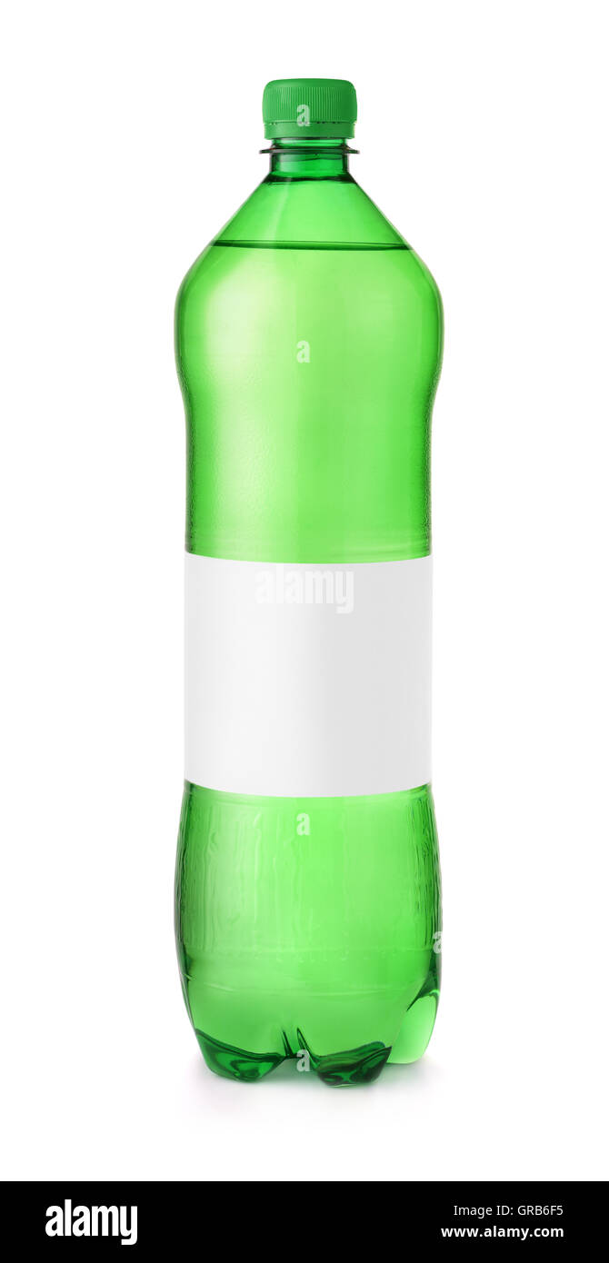 Green plastic water bottle with blank label isolated on white - Stock Image