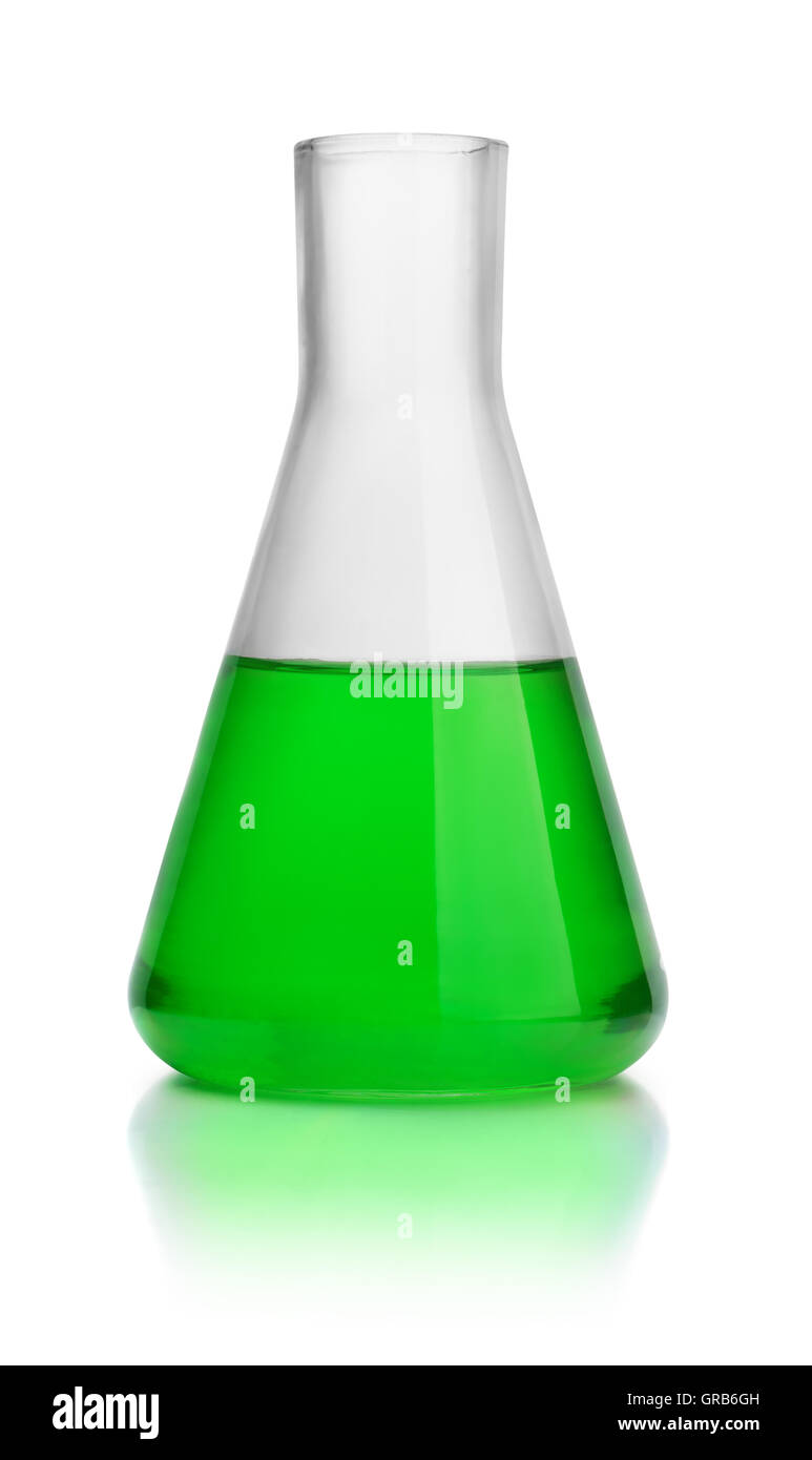 Laboratory conical flask with green liquid isolated on white - Stock Image