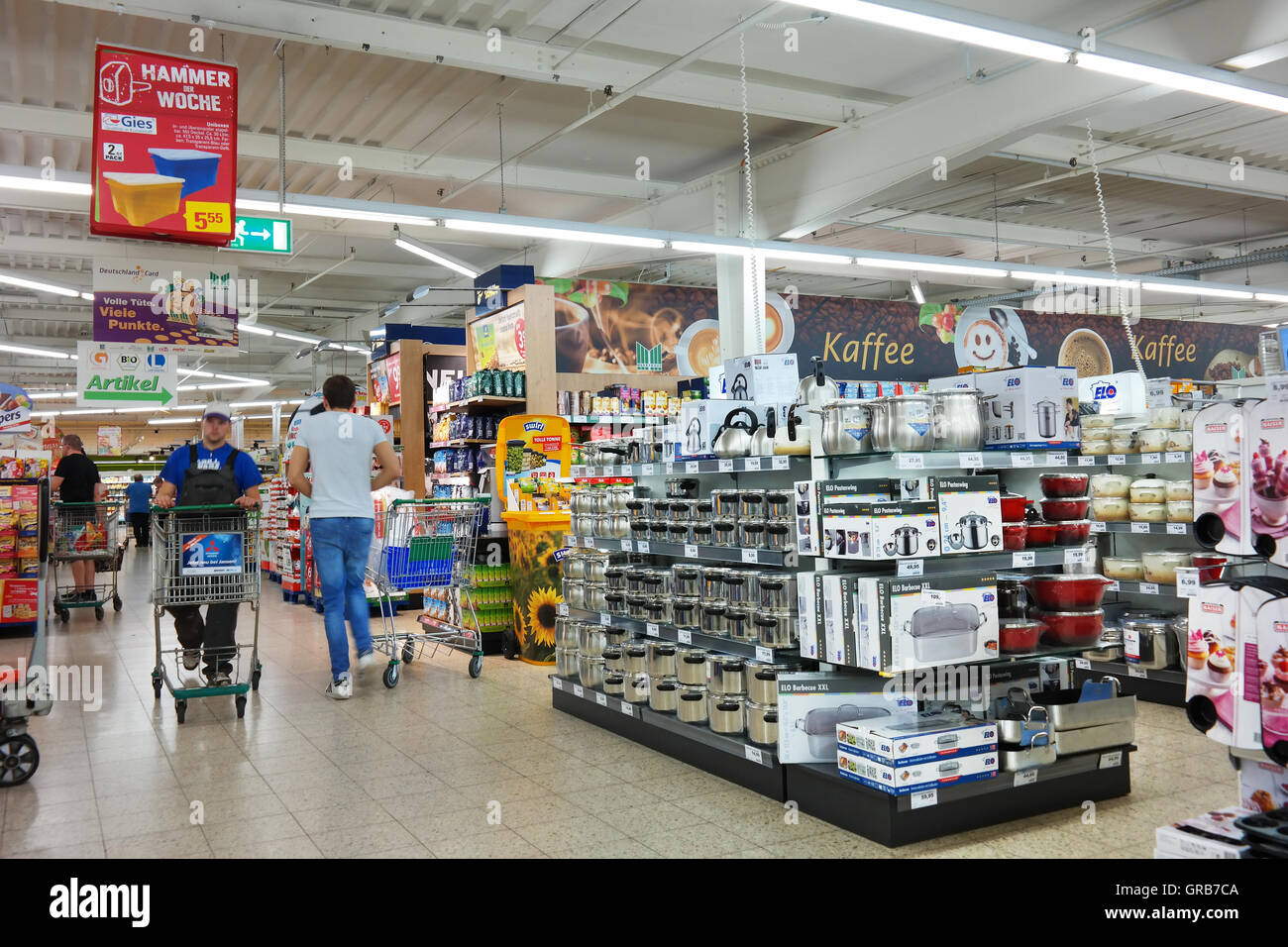 Household appliances and kitchenware, department of a hypermarket - Stock Image