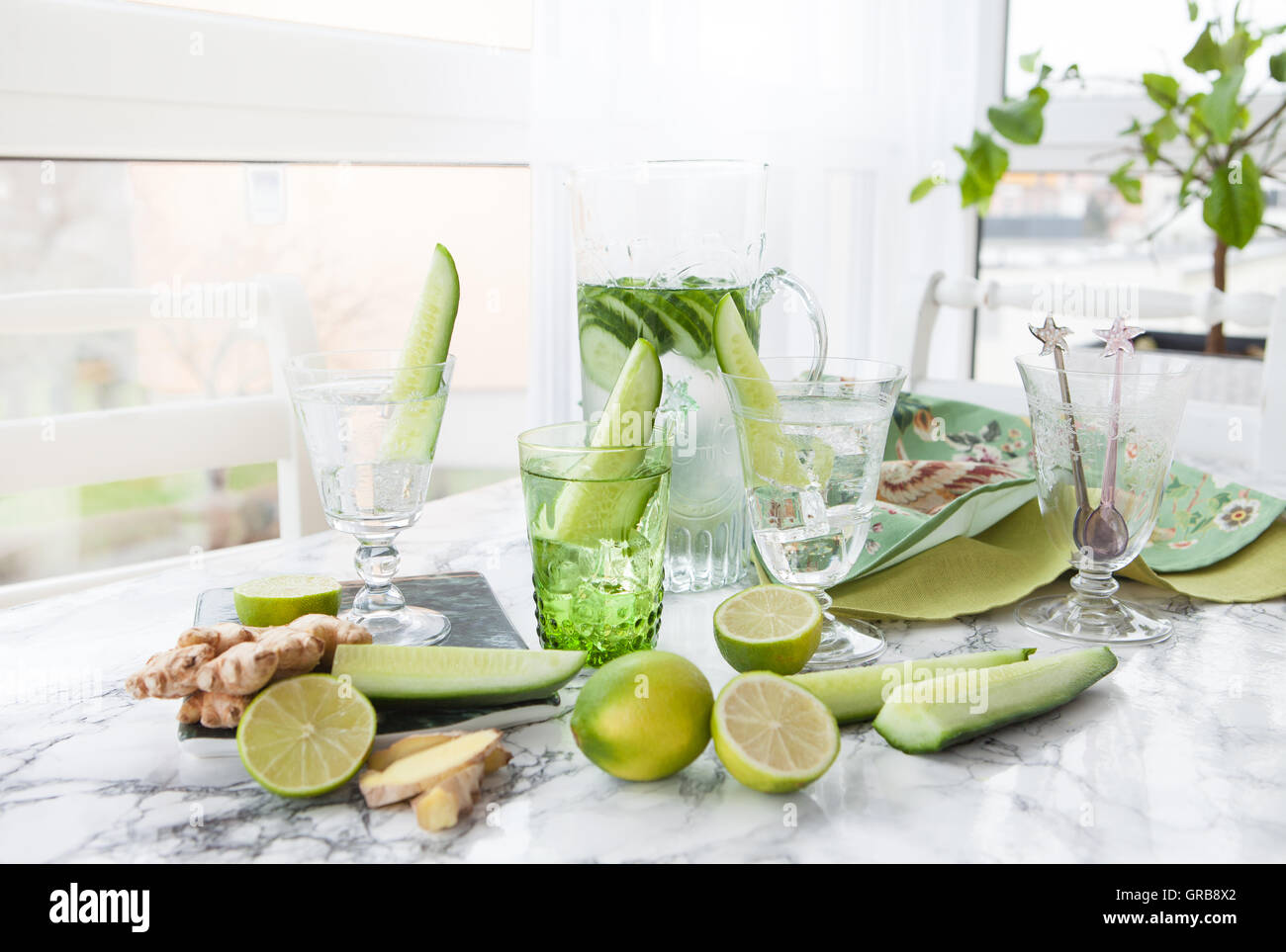 Cucumber Infused Mineral Water Stock Photo