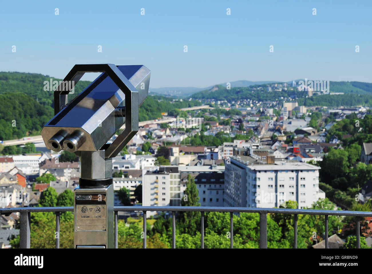 Telescope In Siegen With City Panorama - Stock Image