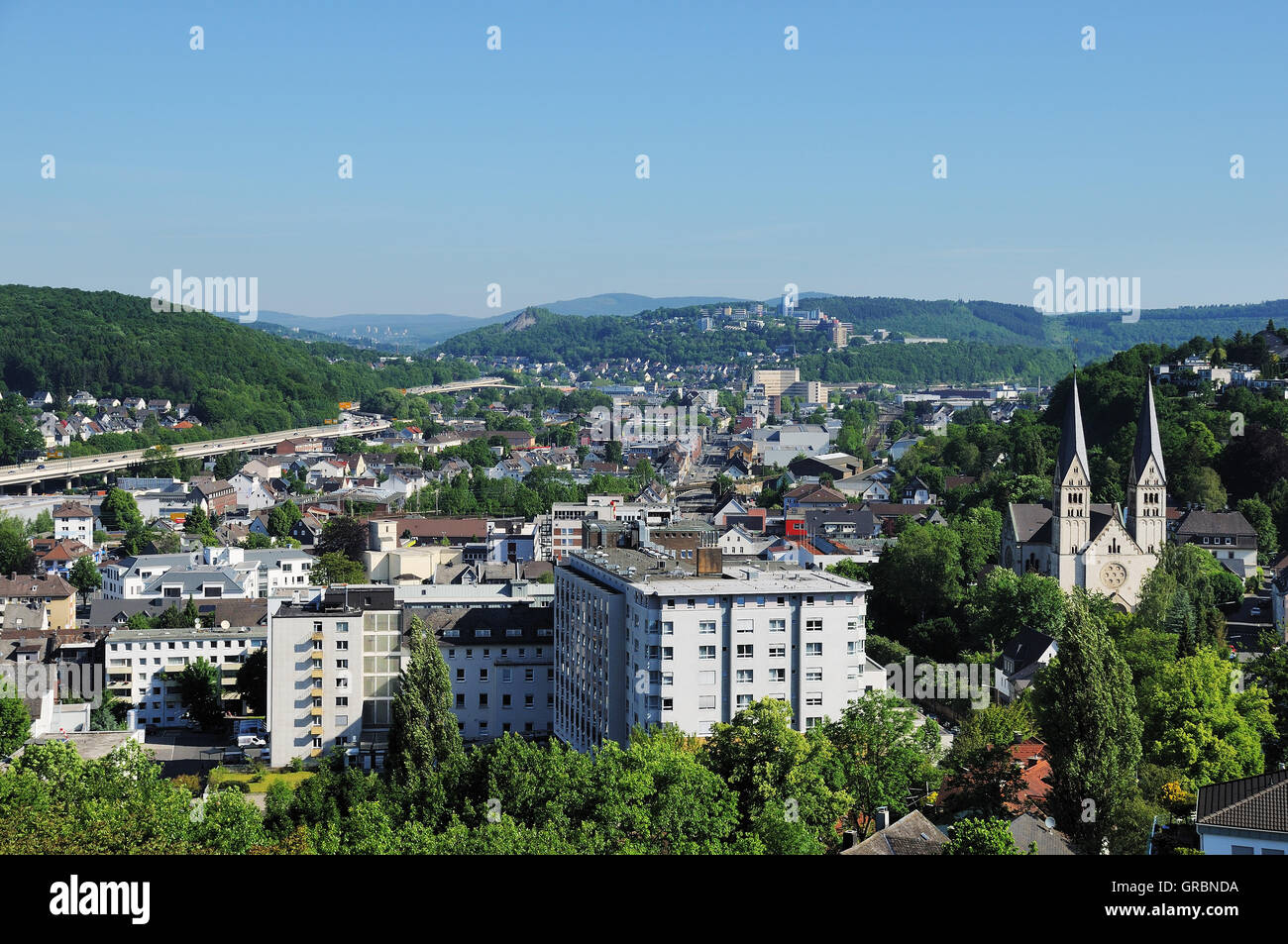 City Panorama From Siegen - Stock Image