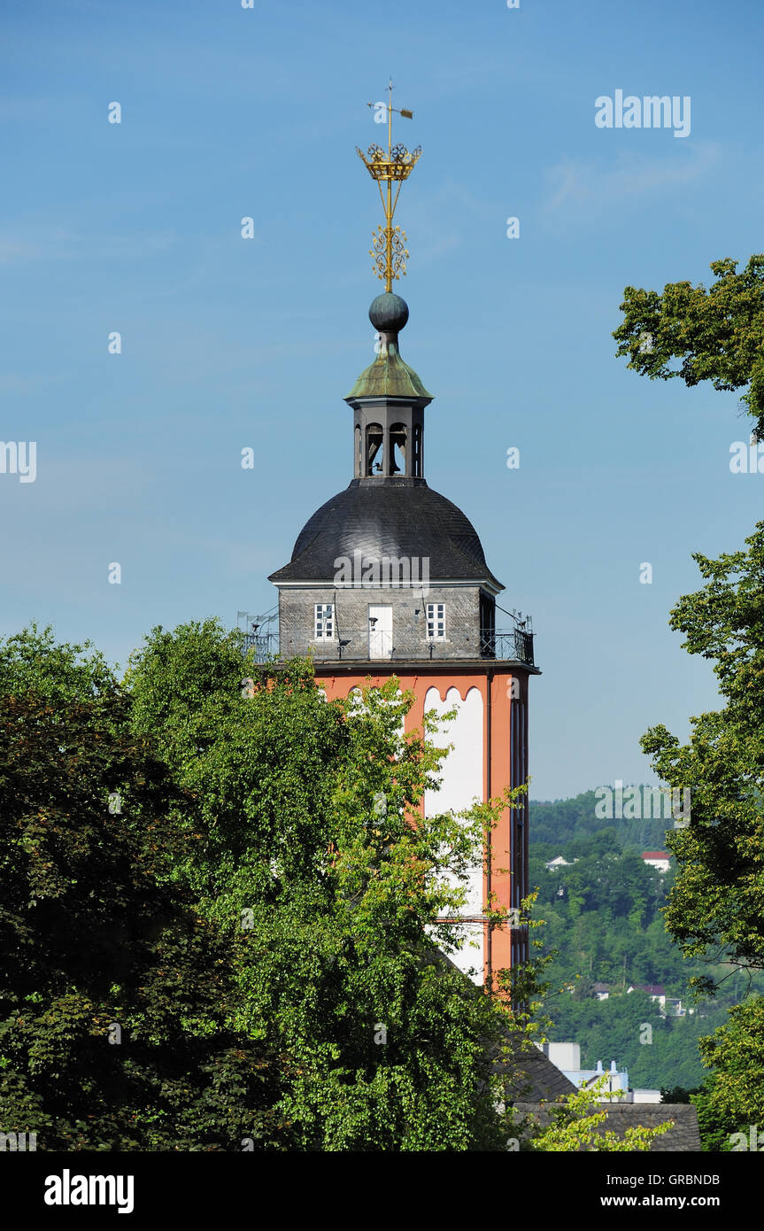 Nikolaikirche With Crown In Siegen - Stock Image