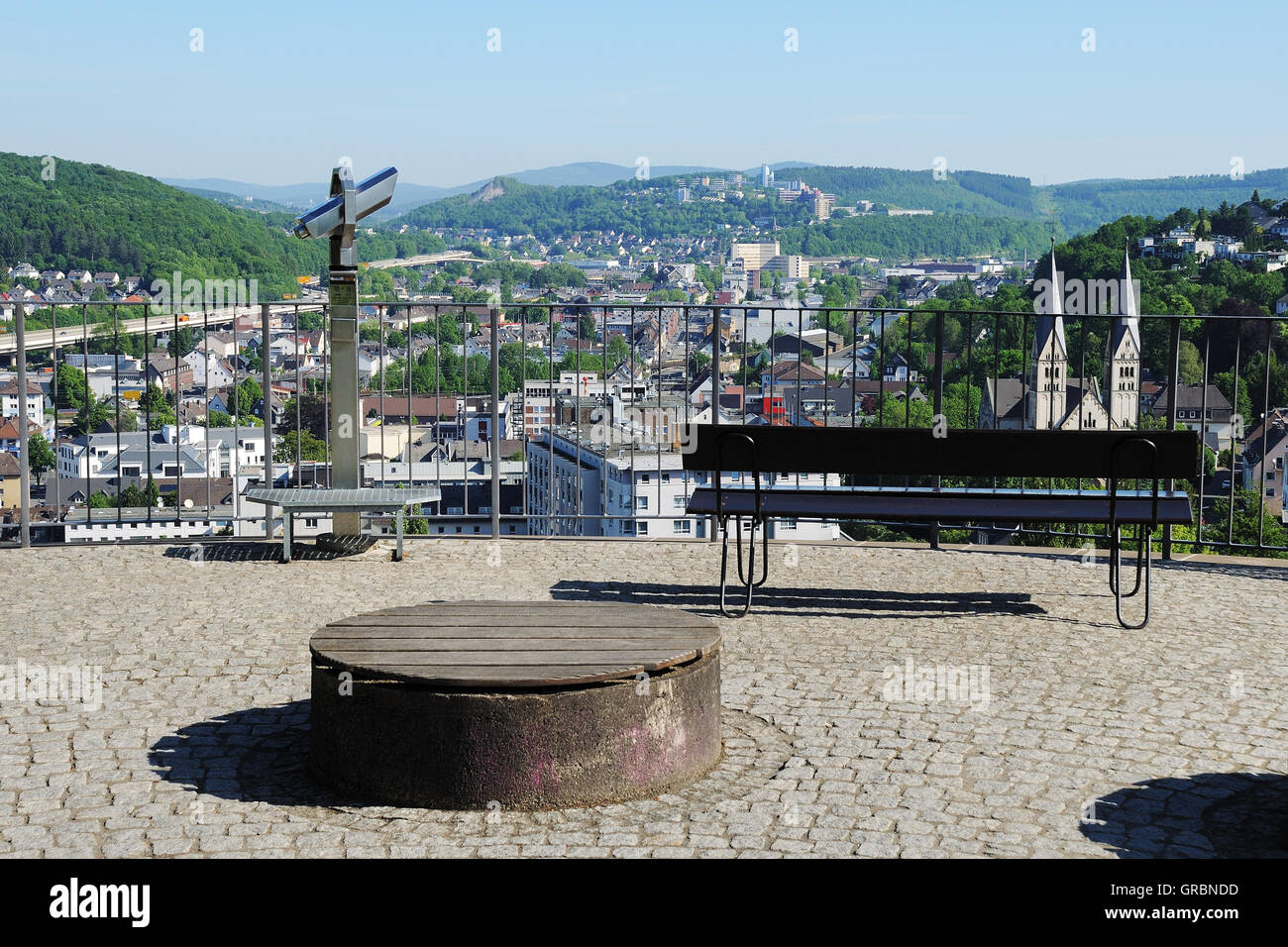 Upper Castle In Siegen With City Panorama - Stock Image