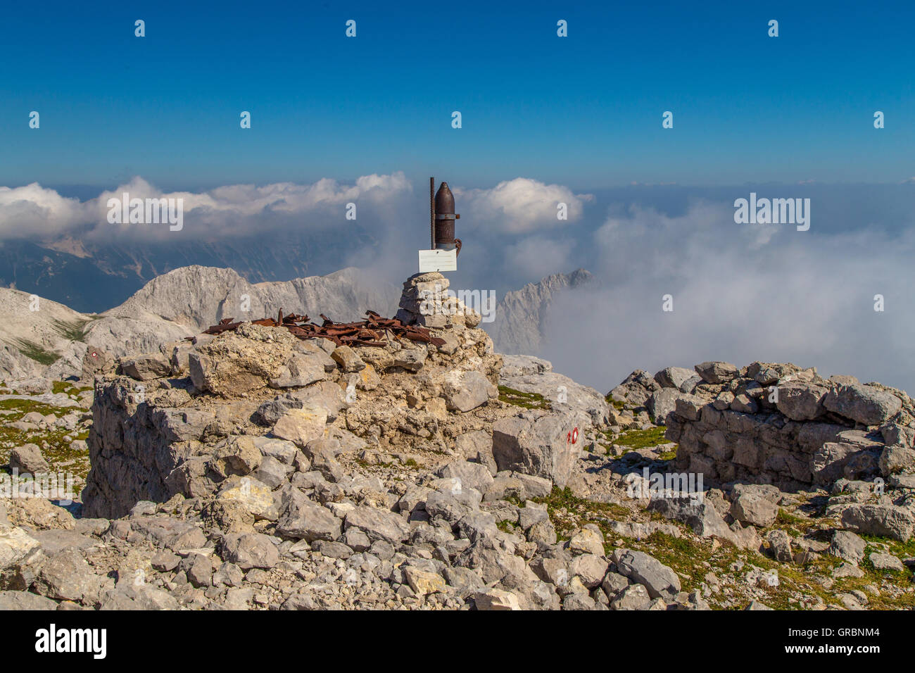 Echoes of world war one on mountain Batognica, Slovenia - Stock Image