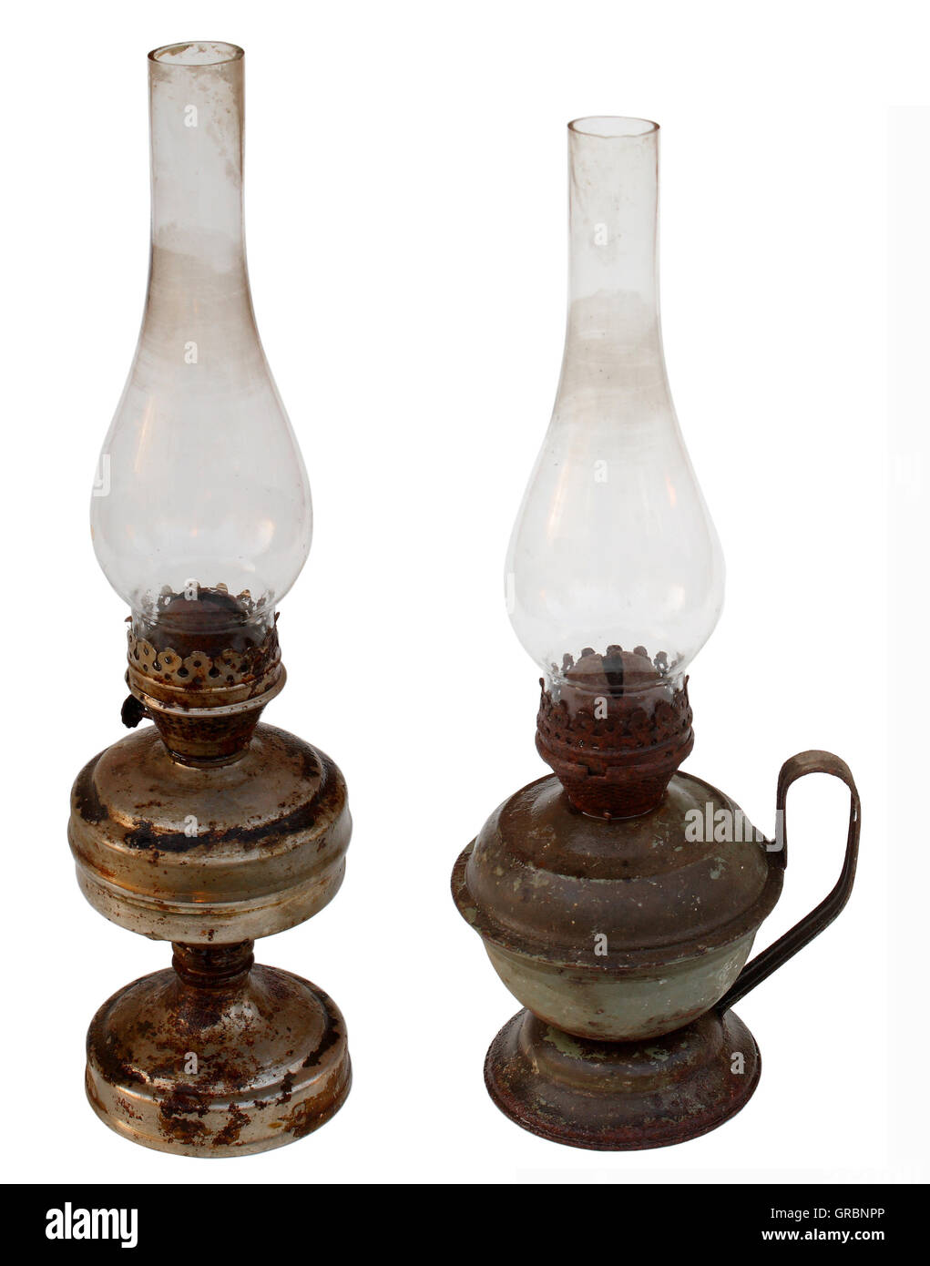 antique kerosene lamp with a glass bulb old - Stock Image