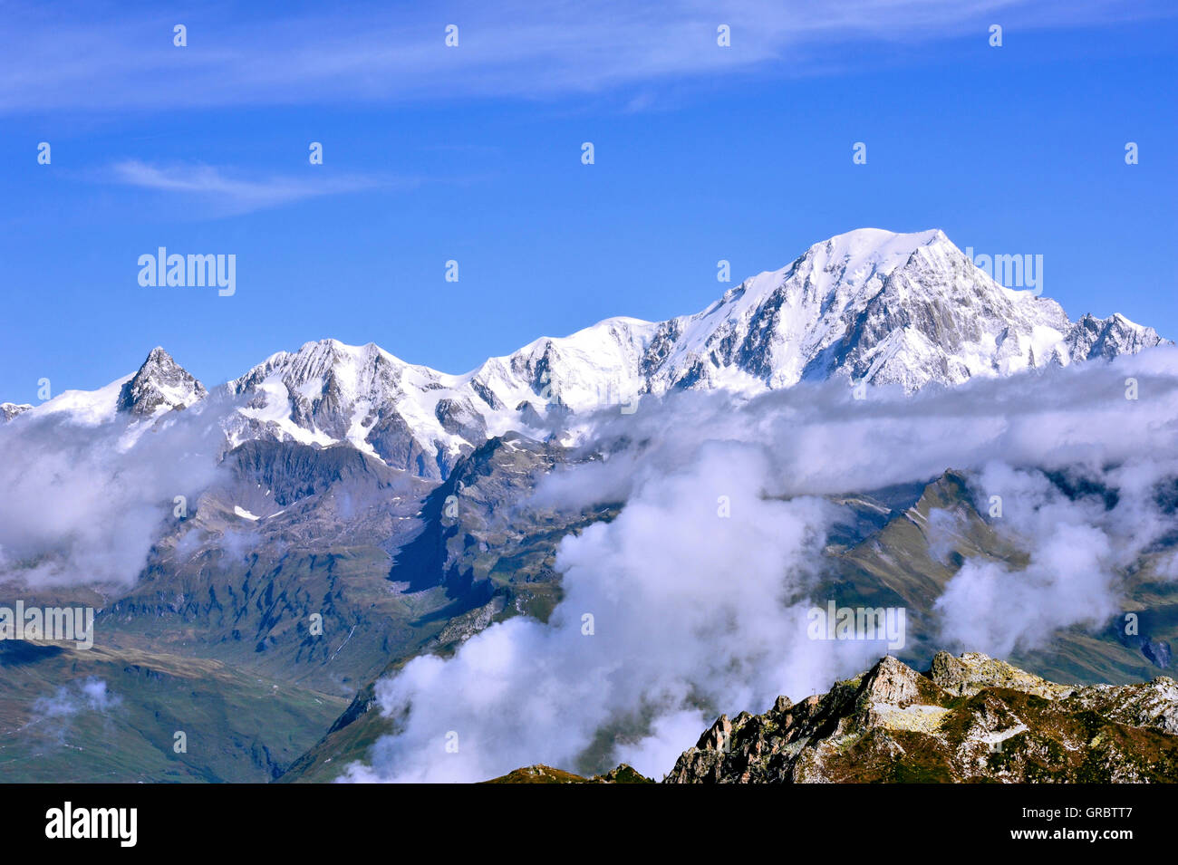 Mountain Mont Blanc, View Of Aiguille Grive, French Alps, France - Stock Image