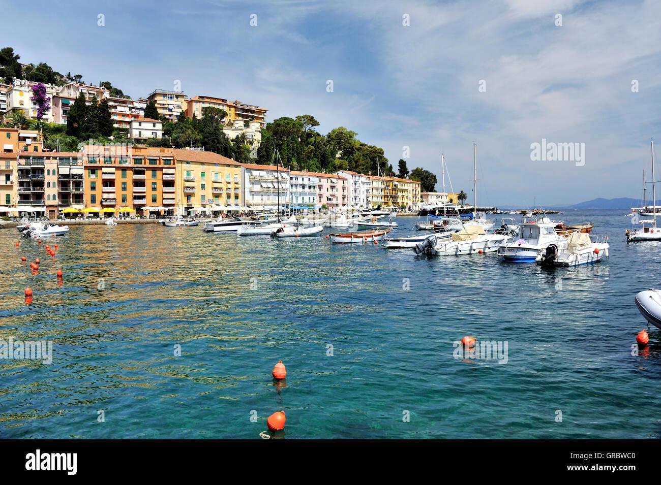 Costal Line Of Tuscan Town Porto Santo Stefano, Tuscany, Italy - Stock Image