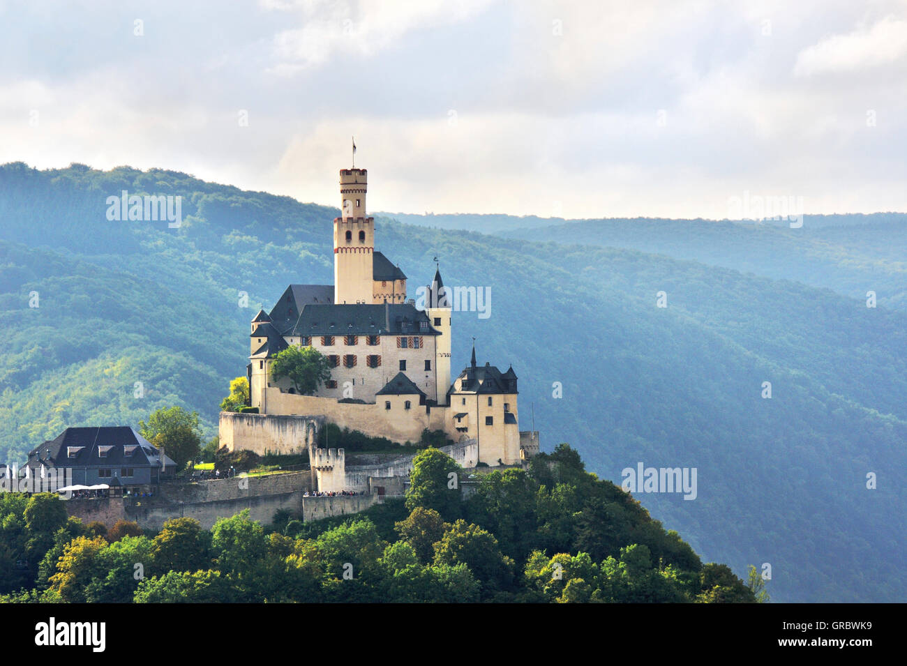 View To Marksburg With Dusty Light, Castle Above The Rhine Gorge And The Town Braubach, Upper Middle Rhine Valley, - Stock Image