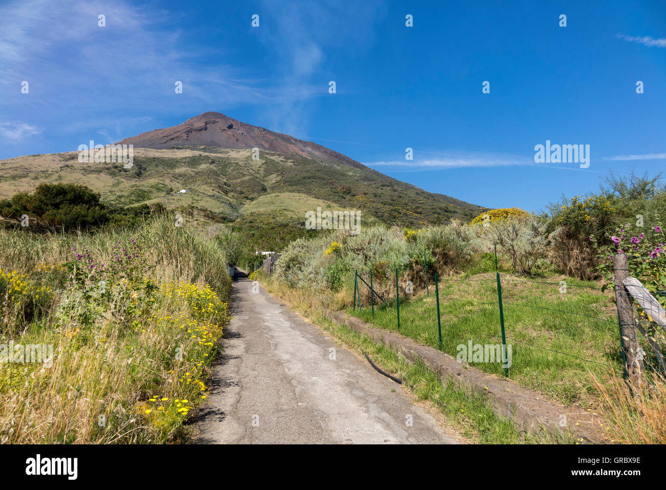 Unpaved Road Through Meadows, In The Background Vulcan Stromboli, Aeolian Islands, Italy - Stock Image