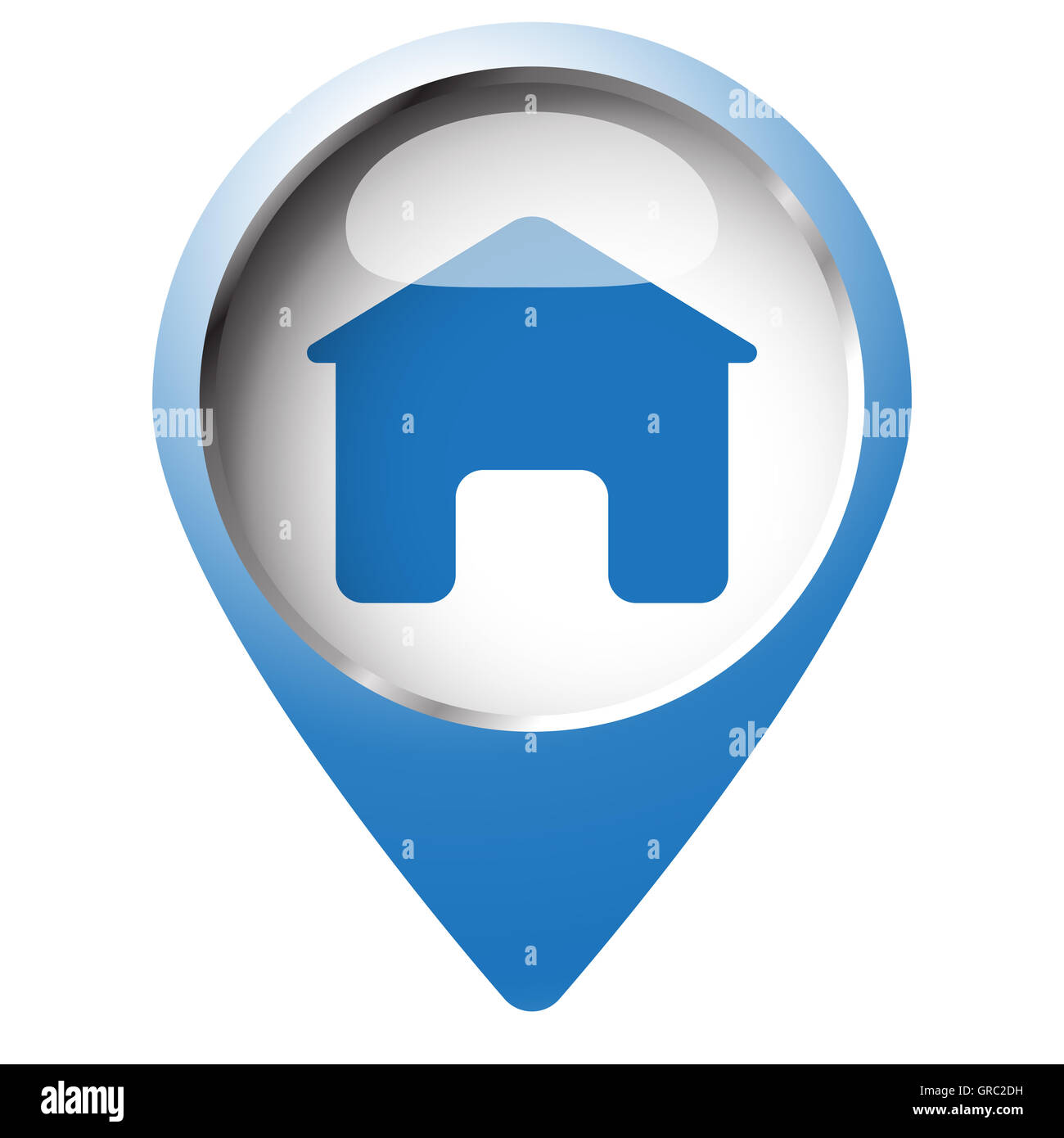 Map pin symbol with Home icon  Blue symbol on white