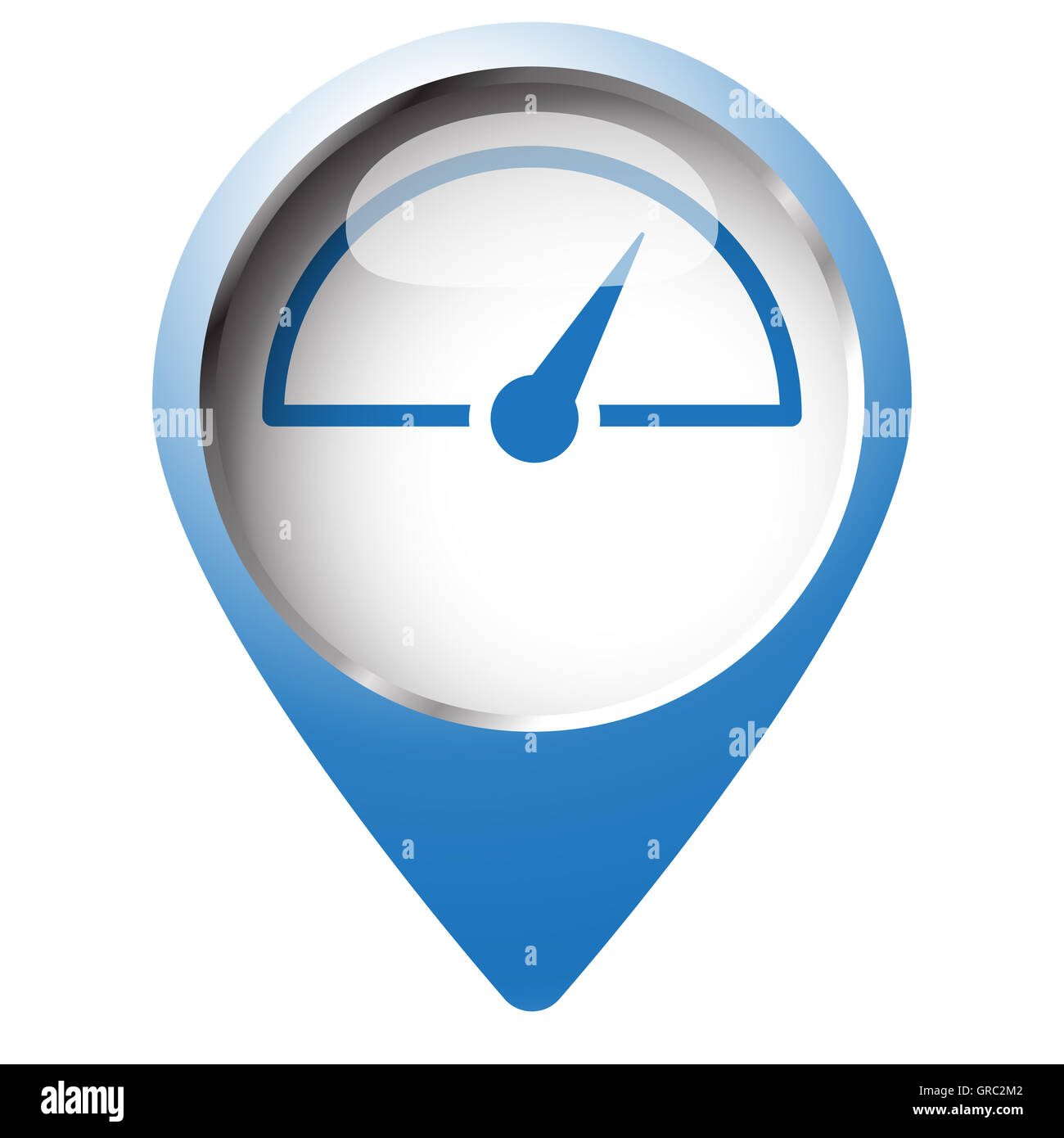 Map pin symbol with Speed Meter icon. Blue symbol on white Stock ...