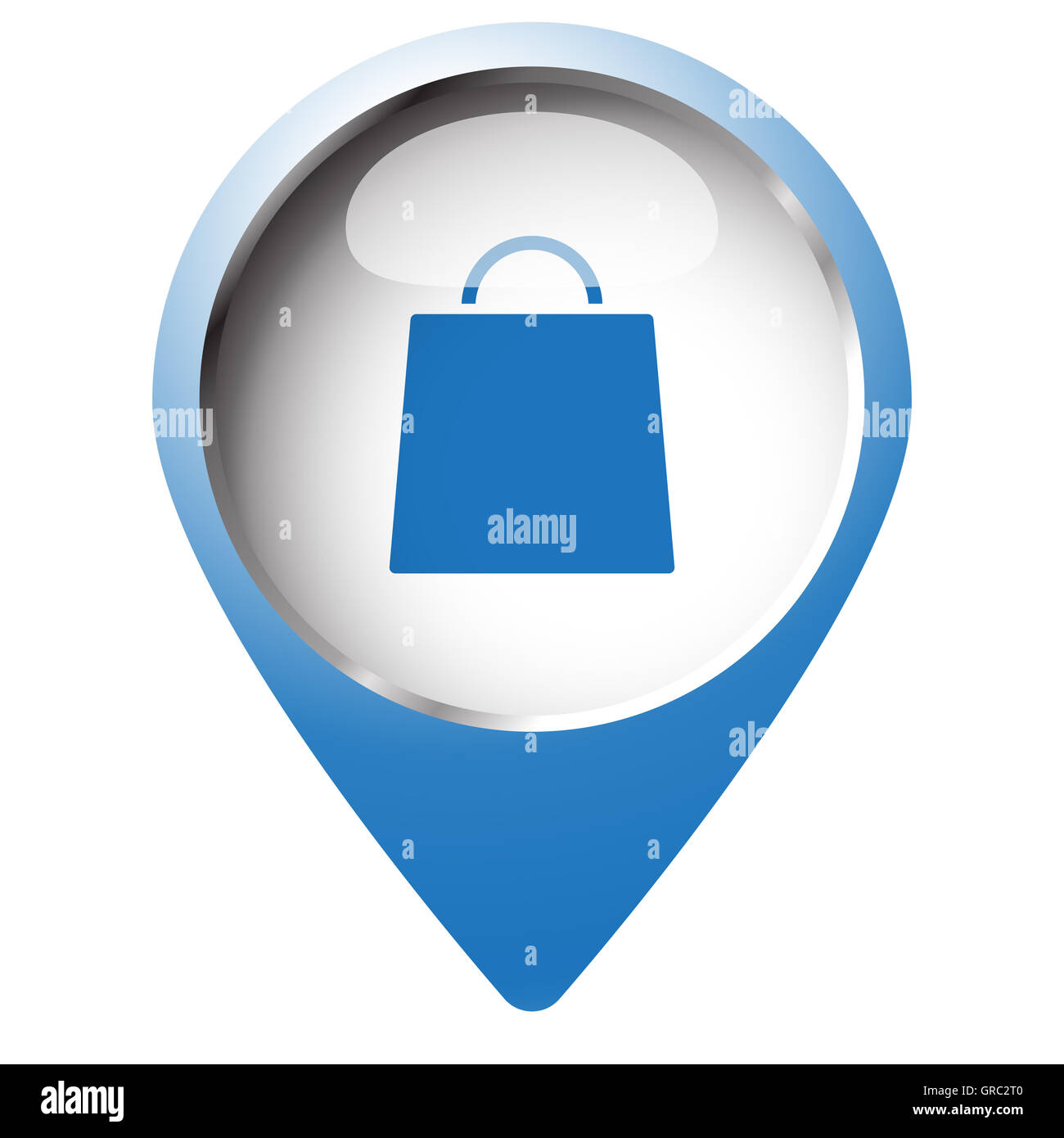 Map pin symbol with Shopping Bag icon  Blue symbol on white Stock