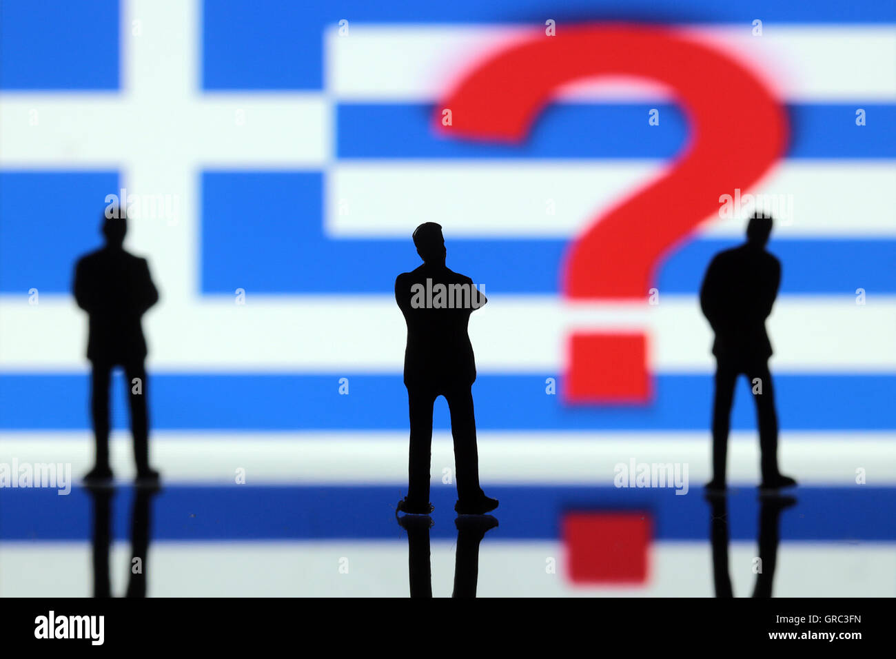 Manager With Question Mark And Greek Flag - Stock Image