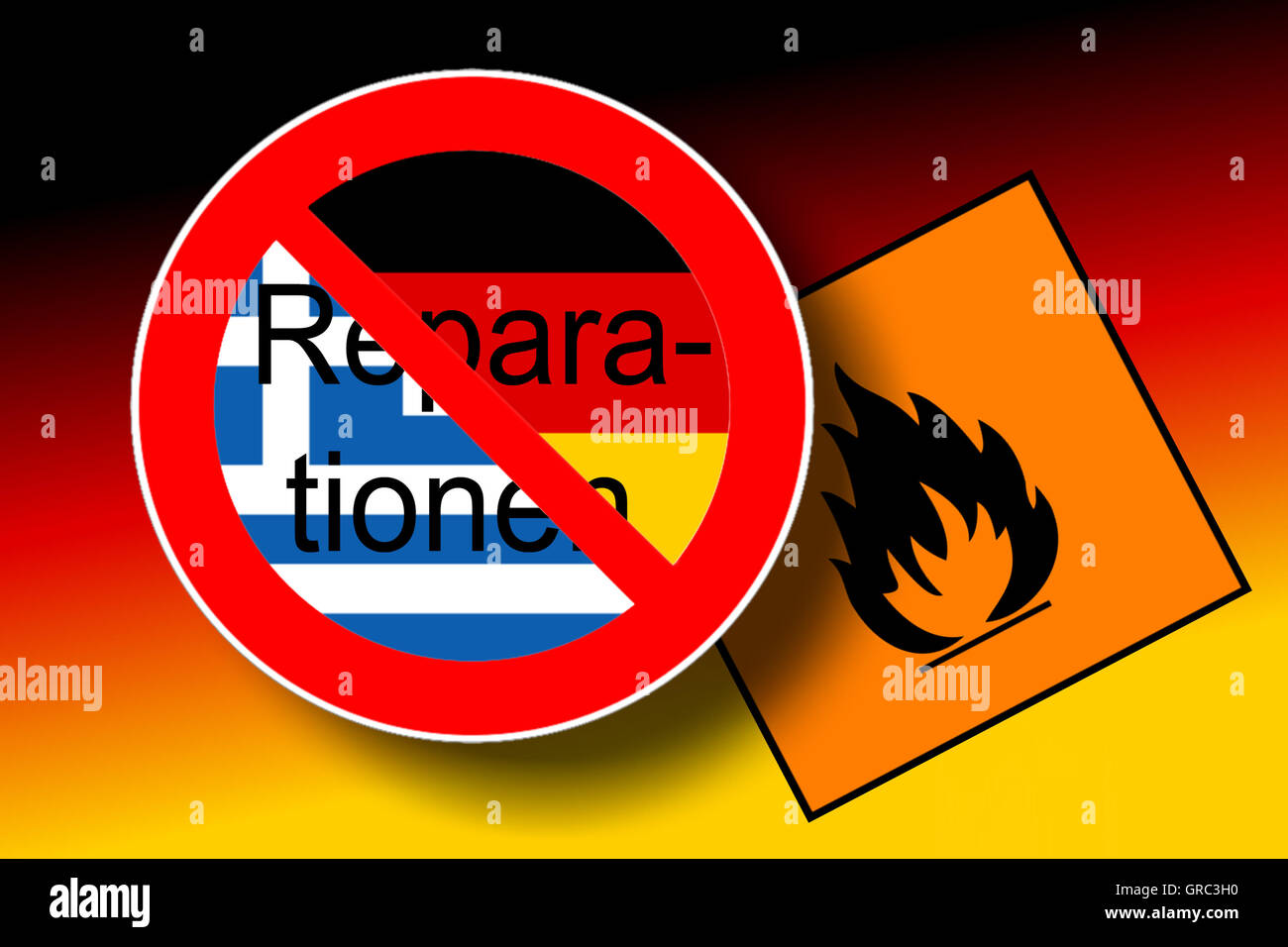 Traffic Sign End Of Reparations With Greek And German Flags - Stock Image