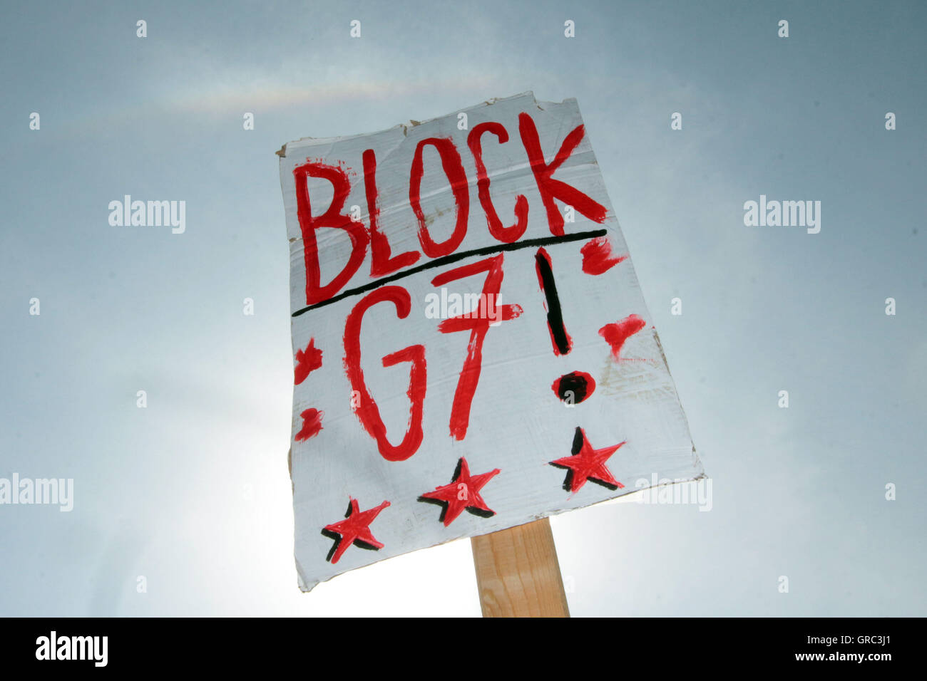 Leftist Blockupy Movement Posting Board Block G7 Summit Stock Photo