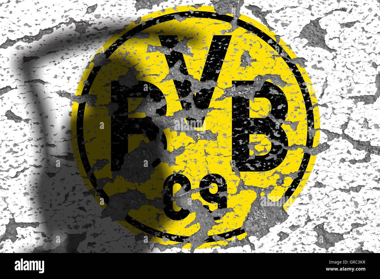 Eroding Logos Of Soccer Club Bvb Borussia Dortmund - Stock Image