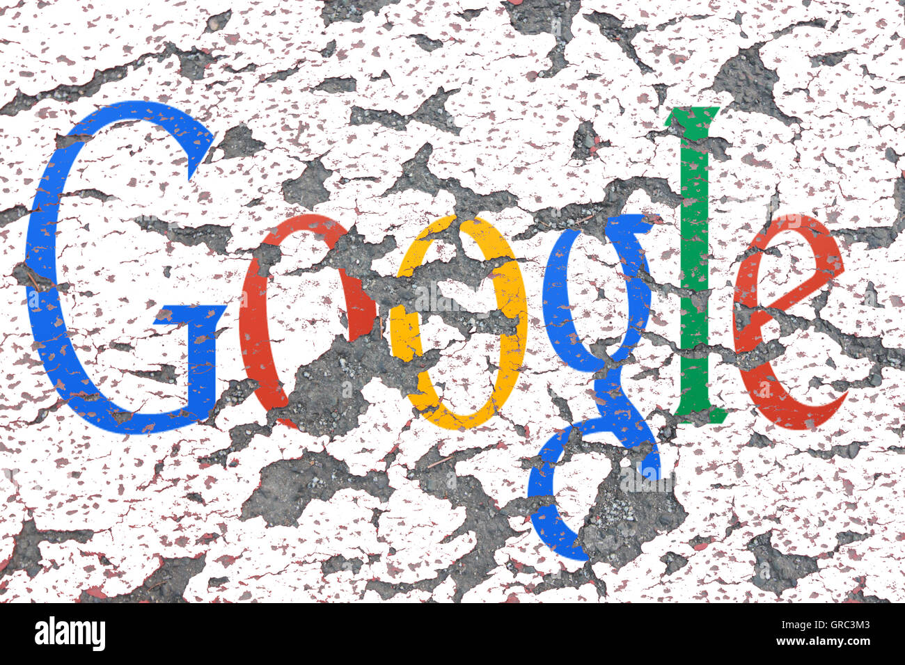 Eroding Google Sign On A Wall - Stock Image