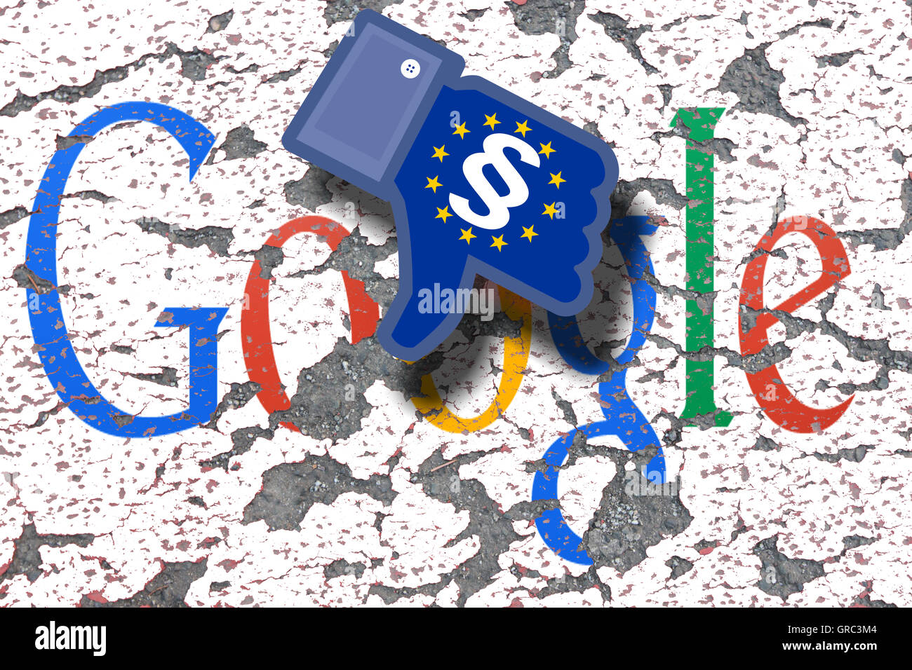 Eroding Google Sign On A Wall With Dislike Icon And Flag Of Eu - Stock Image