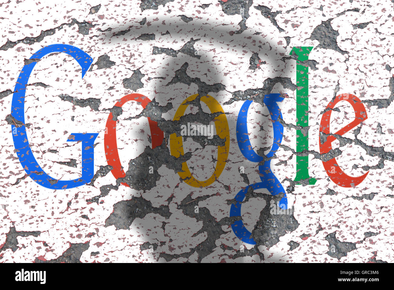 Eroding Google Sign On A Wall With Shadow Of Grim Reaper Stock Photo