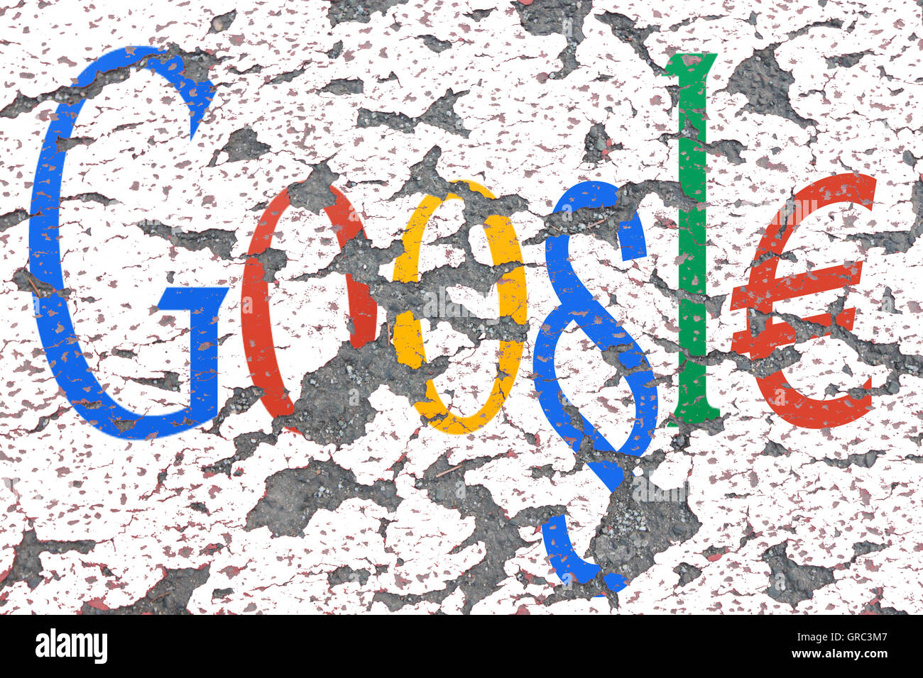 Modified Google Sign On An Eroding Wall - Stock Image