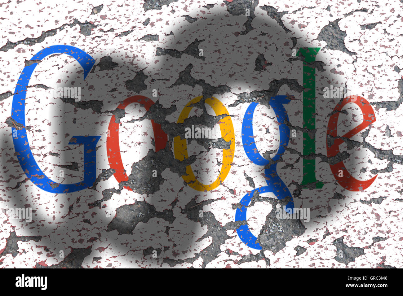 Eroding Google Sign On A Wall With Shadow Of A Paragraph Stock Photo