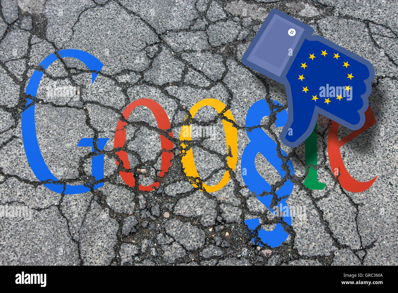 Eroding Modified Google Sign On An Eroding Pavement With Dislike Icon And Flag Of Eu - Stock Image