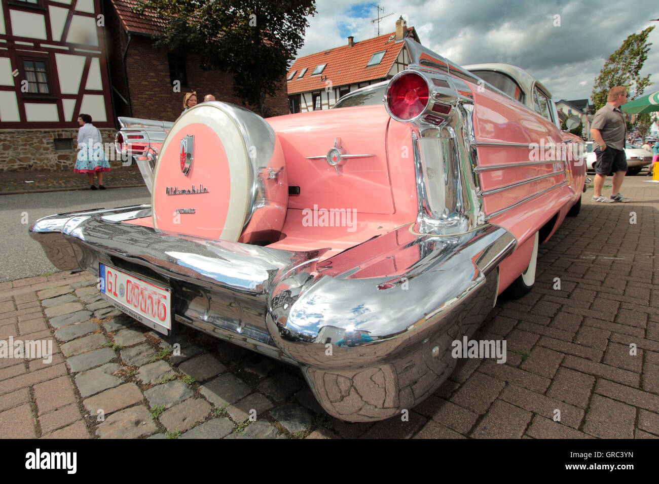 Classic Car Oldsmobile Eighty Eight In Pink Stock Photo