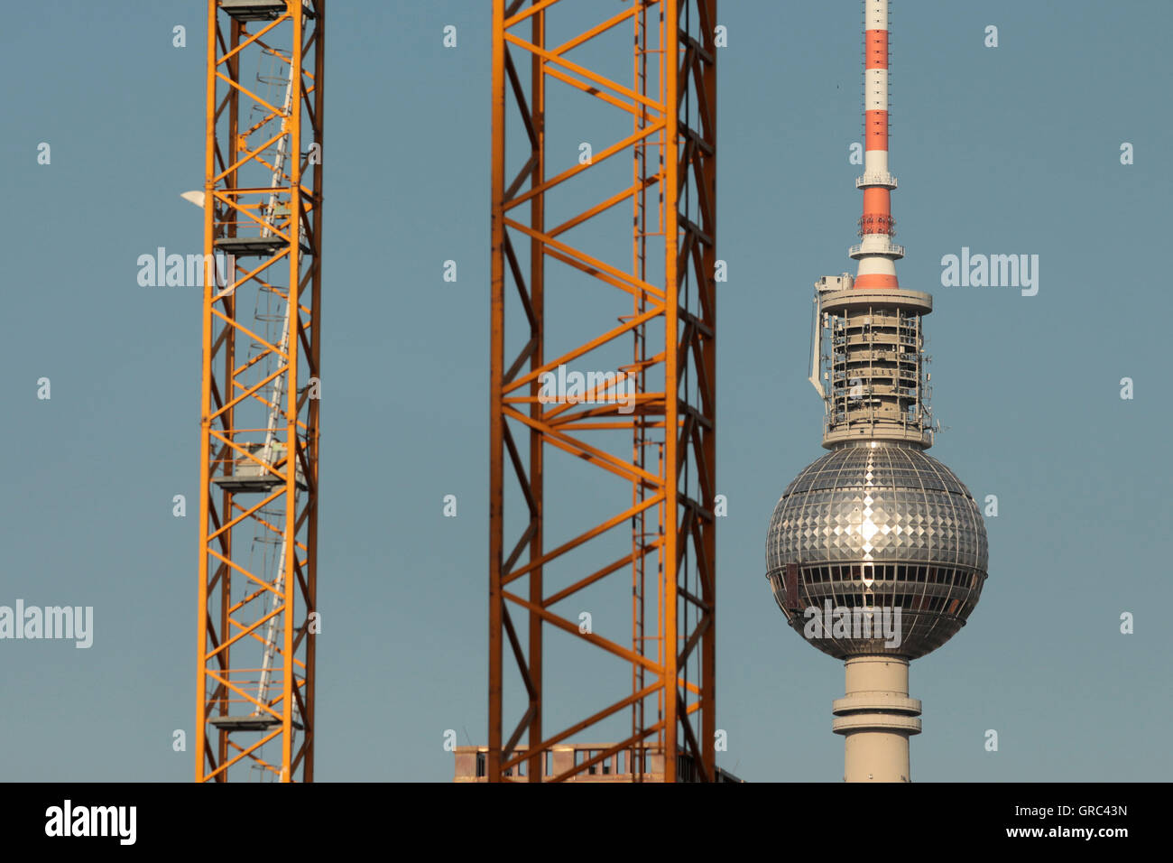 Construction Work At Berlin Fernsehturm - Stock Image