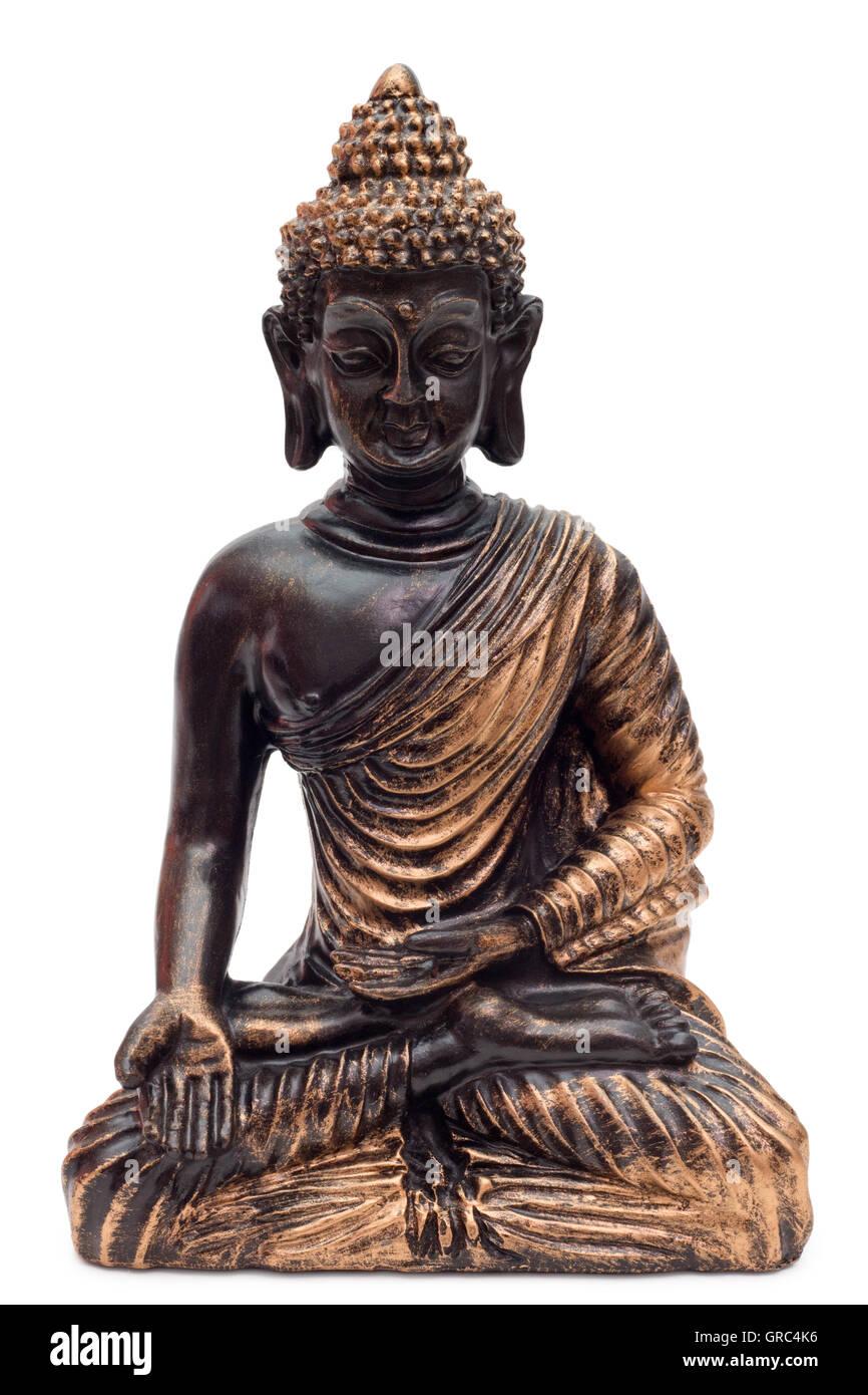 Bronze Buddha Over White Background Stock Photo