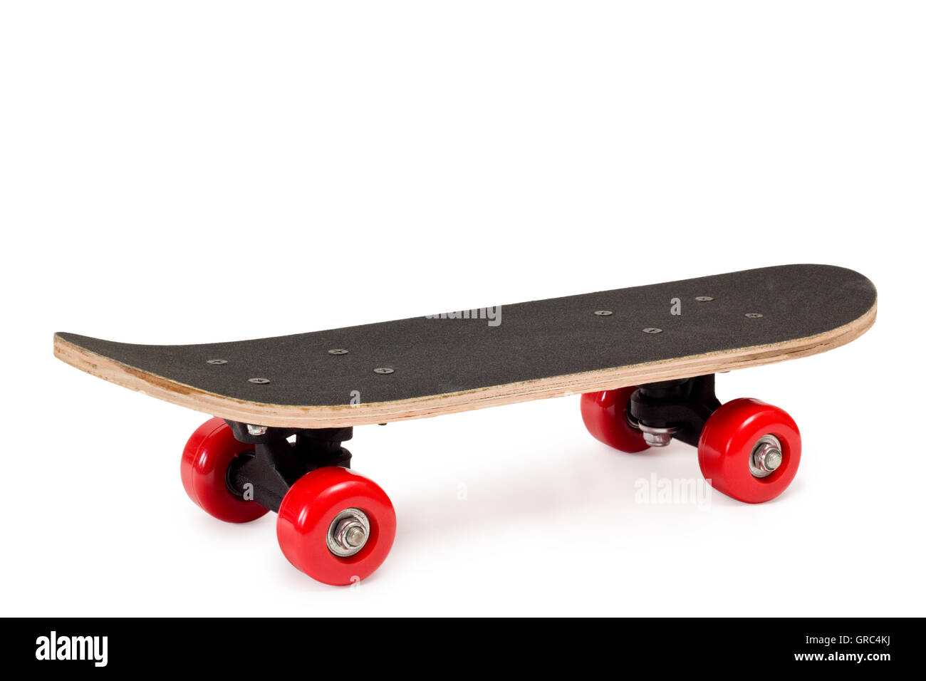 Skateboard With Red Wheels On White Background   Stock Image
