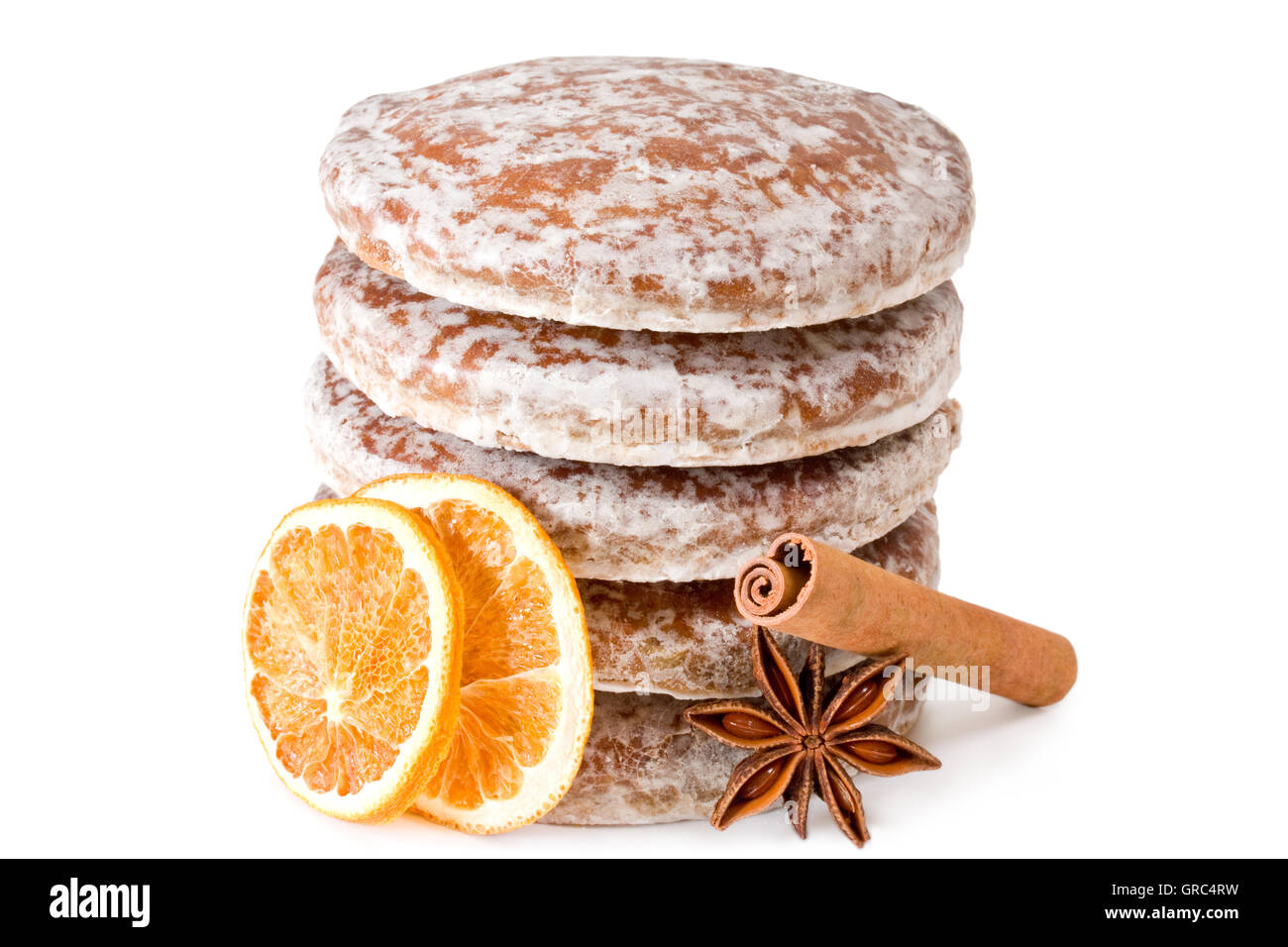 Stack Of Round Gingerbread With Spices On White Background - Stock Image