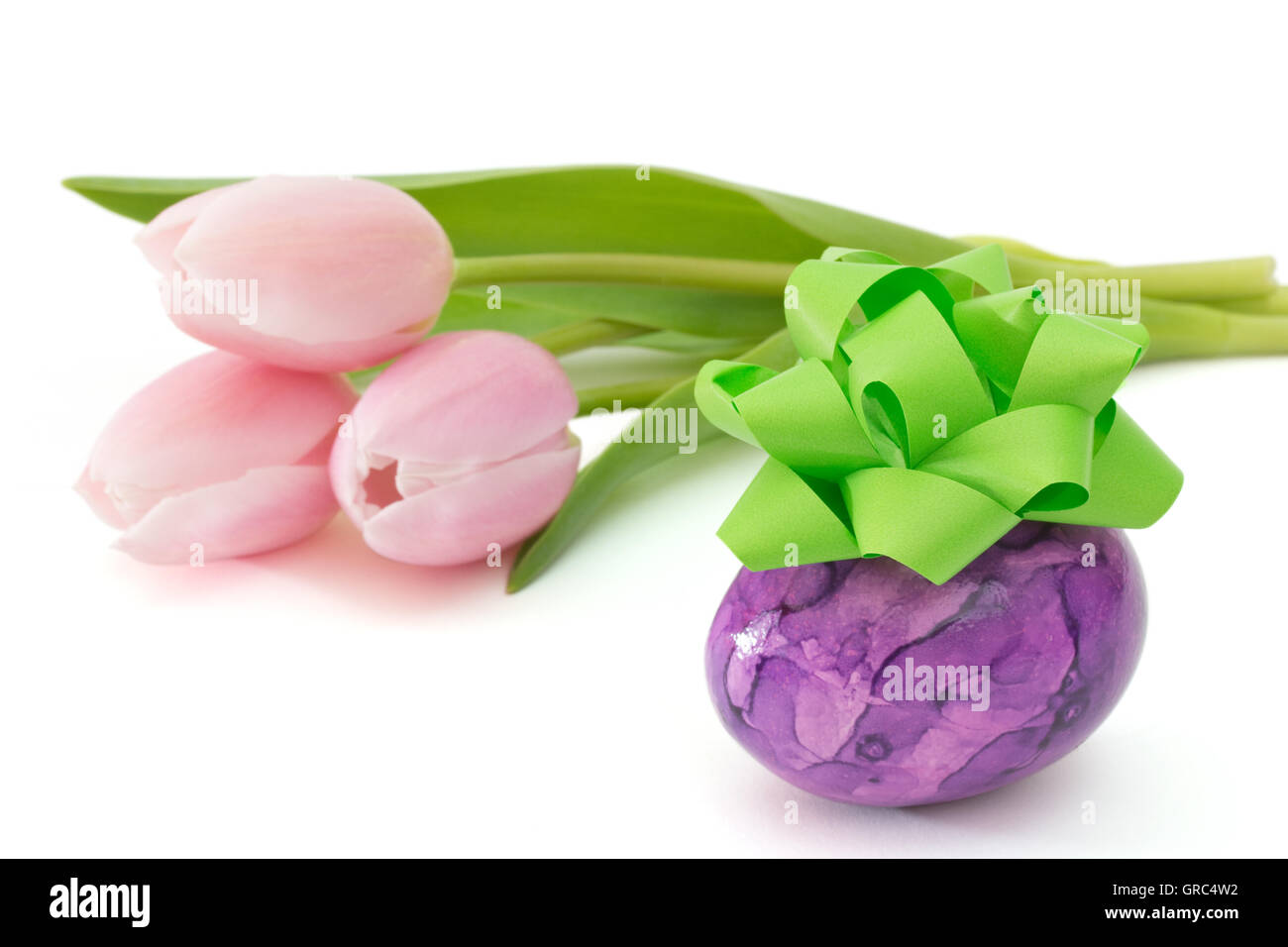 Purple Easter Egg With Bow Near Pink Tulips On White Background - Stock Image