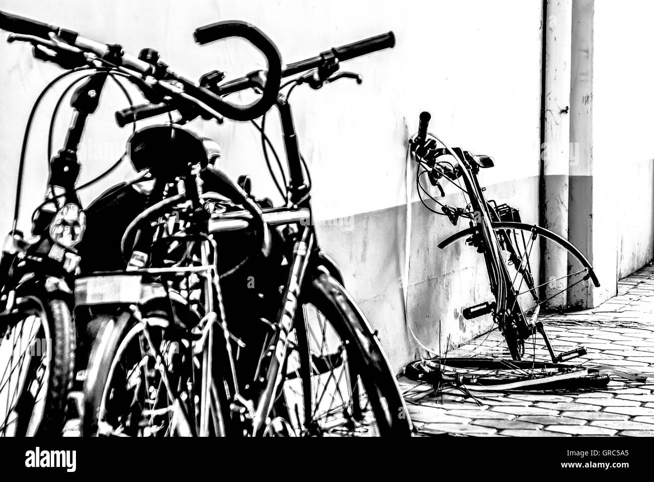 Bicycles Parked Amp Demolished - Stock Image