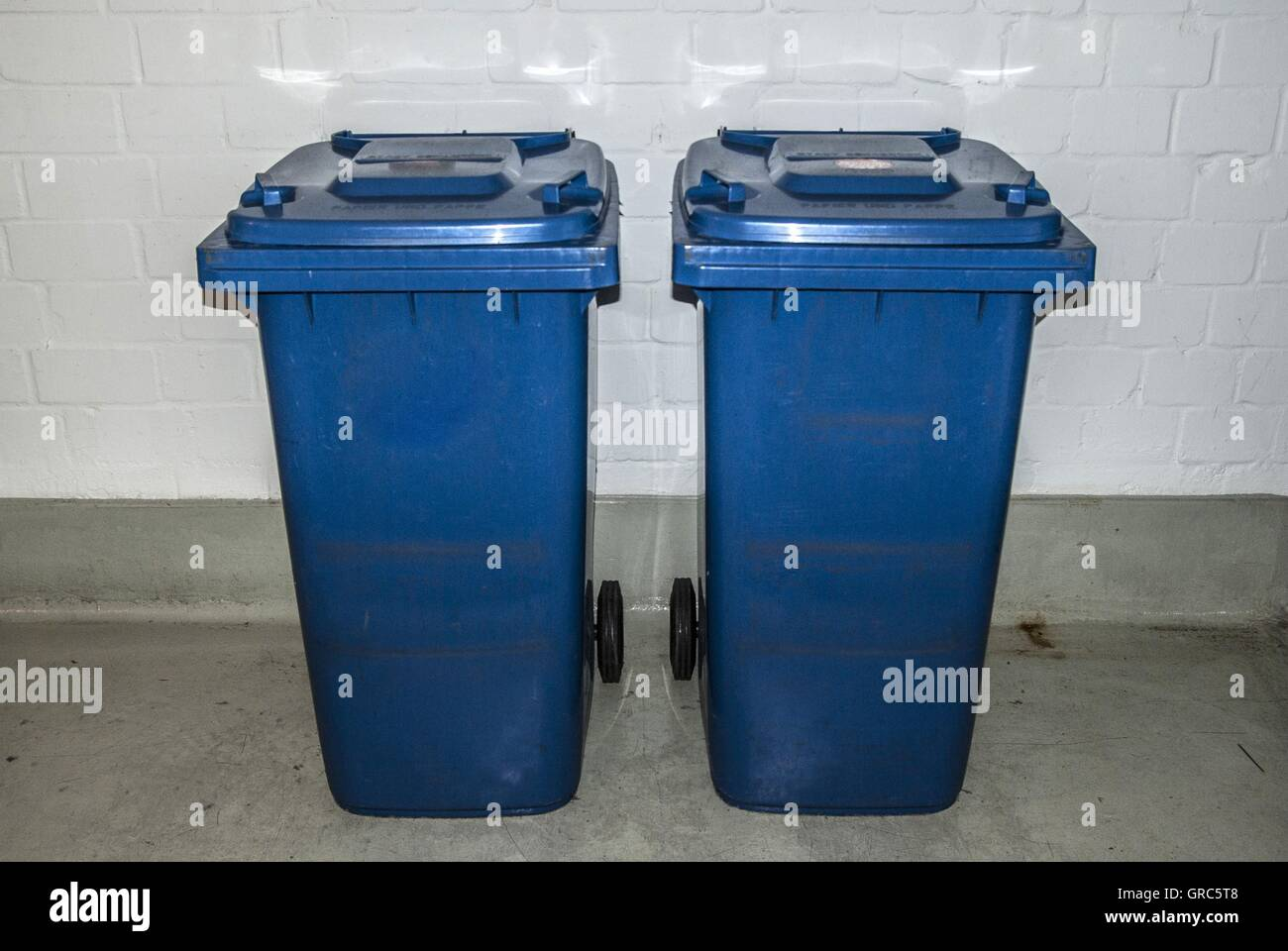 Building, Cellar, Trash Cans - Stock Image