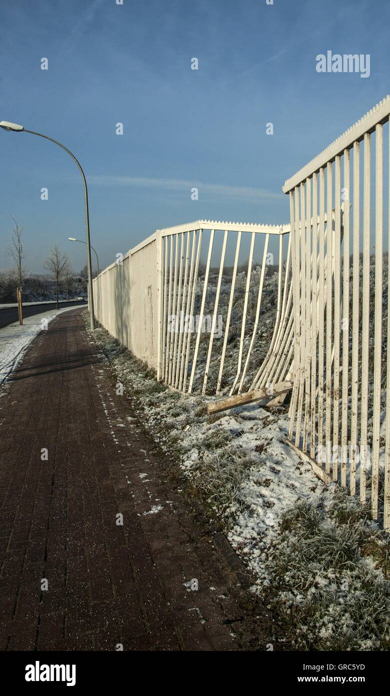 Accidents, Road, Fence - Stock Image
